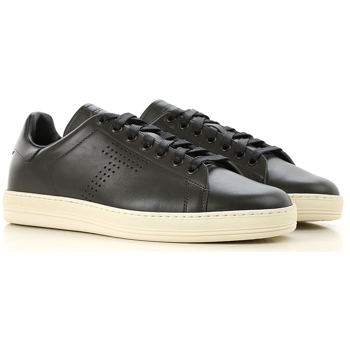 Image of Tom Ford Sneakers for Men, Dark Green, Leather, 2017, 10 10.5 11 7.5 8 9