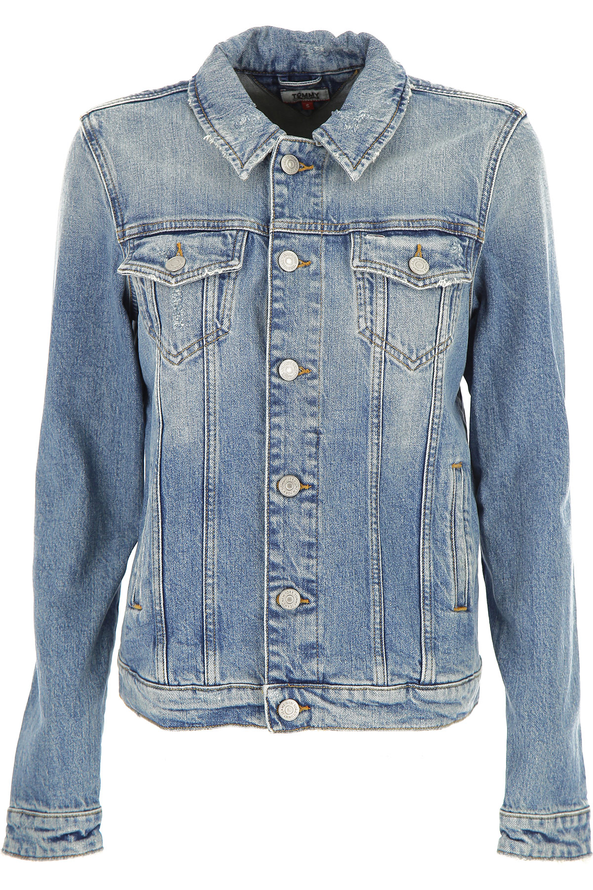 Tommy Hilfiger Jacket for Women On Sale, Blue Denim, Cotton, 2019, 4 6