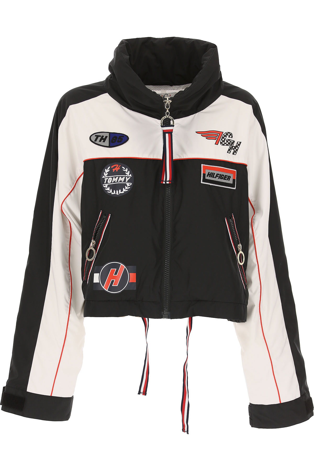 Image of Tommy Hilfiger Jacket for Women On Sale, A Special Collection By Gigi Hadid, Black, polyestere, 2017, 2 4 6