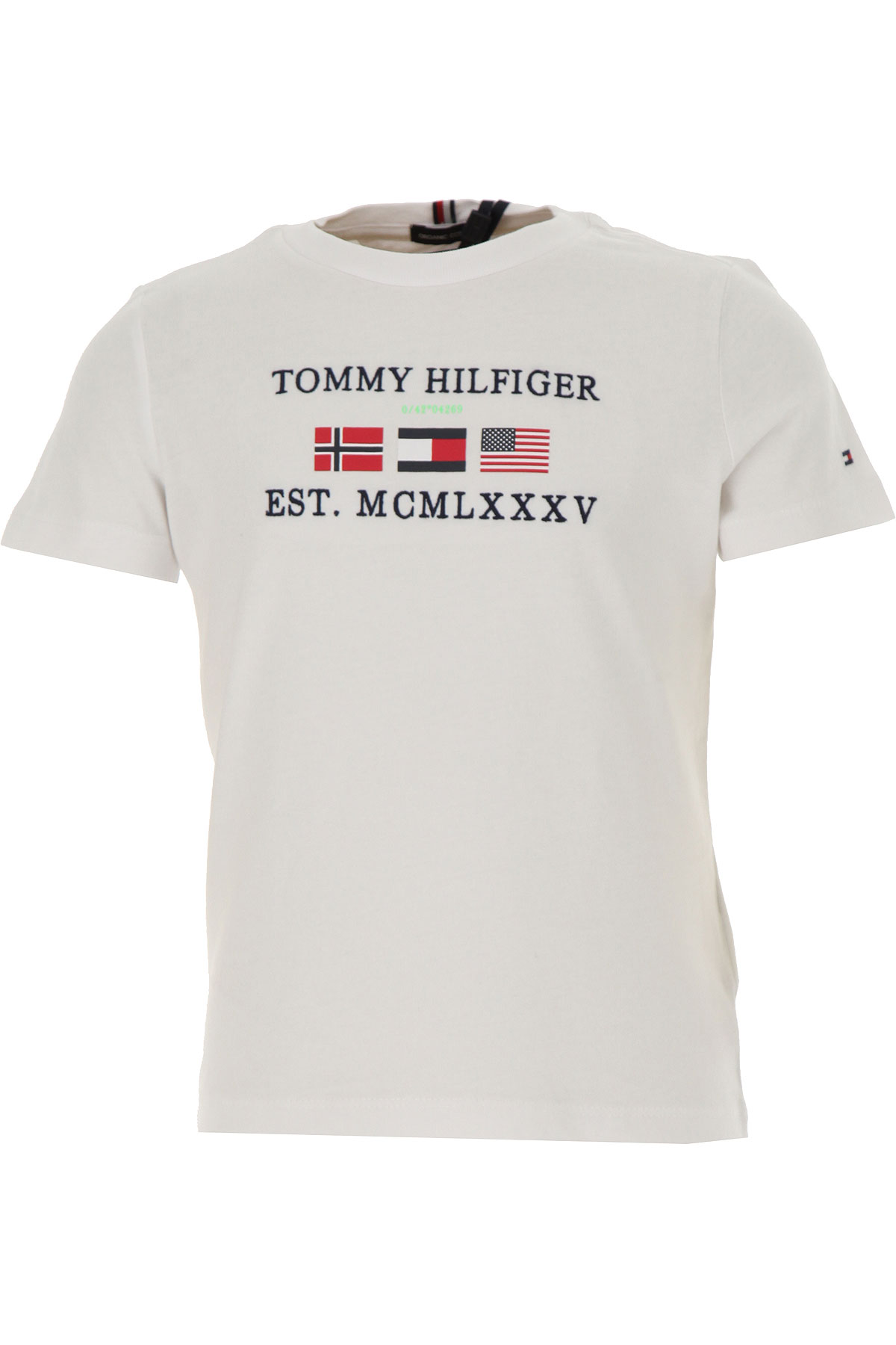 Tommy Hilfiger Kids T-Shirt for Boys On Sale, White, Organic Cotton, 2019, 4Y 8Y
