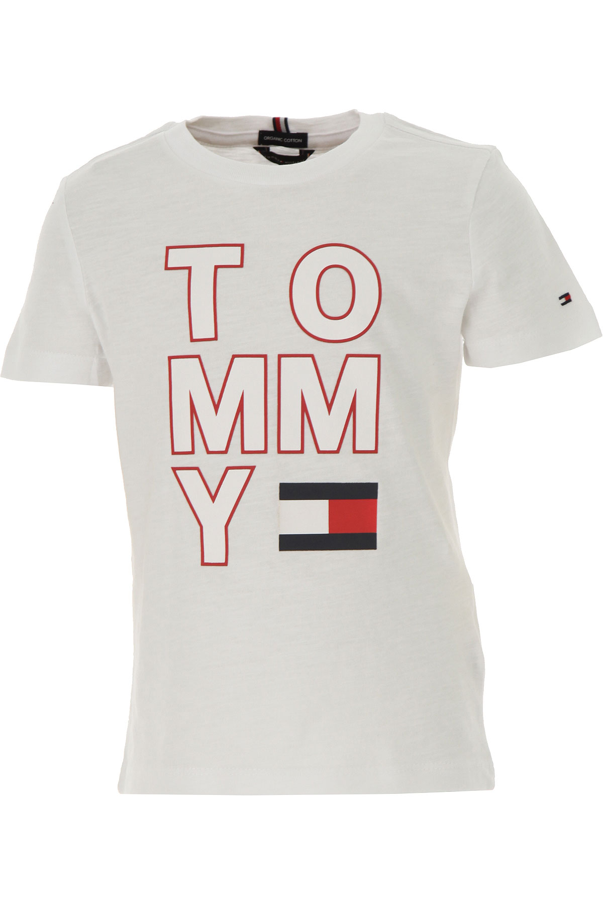 Tommy Hilfiger Kids T-Shirt for Boys On Sale, White, Organic Cotton, 2019, 12Y 4Y 8Y