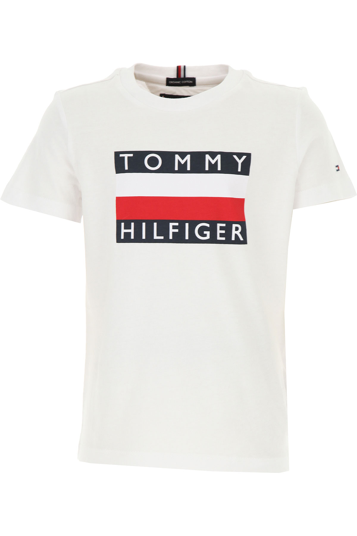 Tommy Hilfiger Kids T-Shirt for Boys On Sale, White, Organic Cotton, 2019, 10Y 4Y 8Y