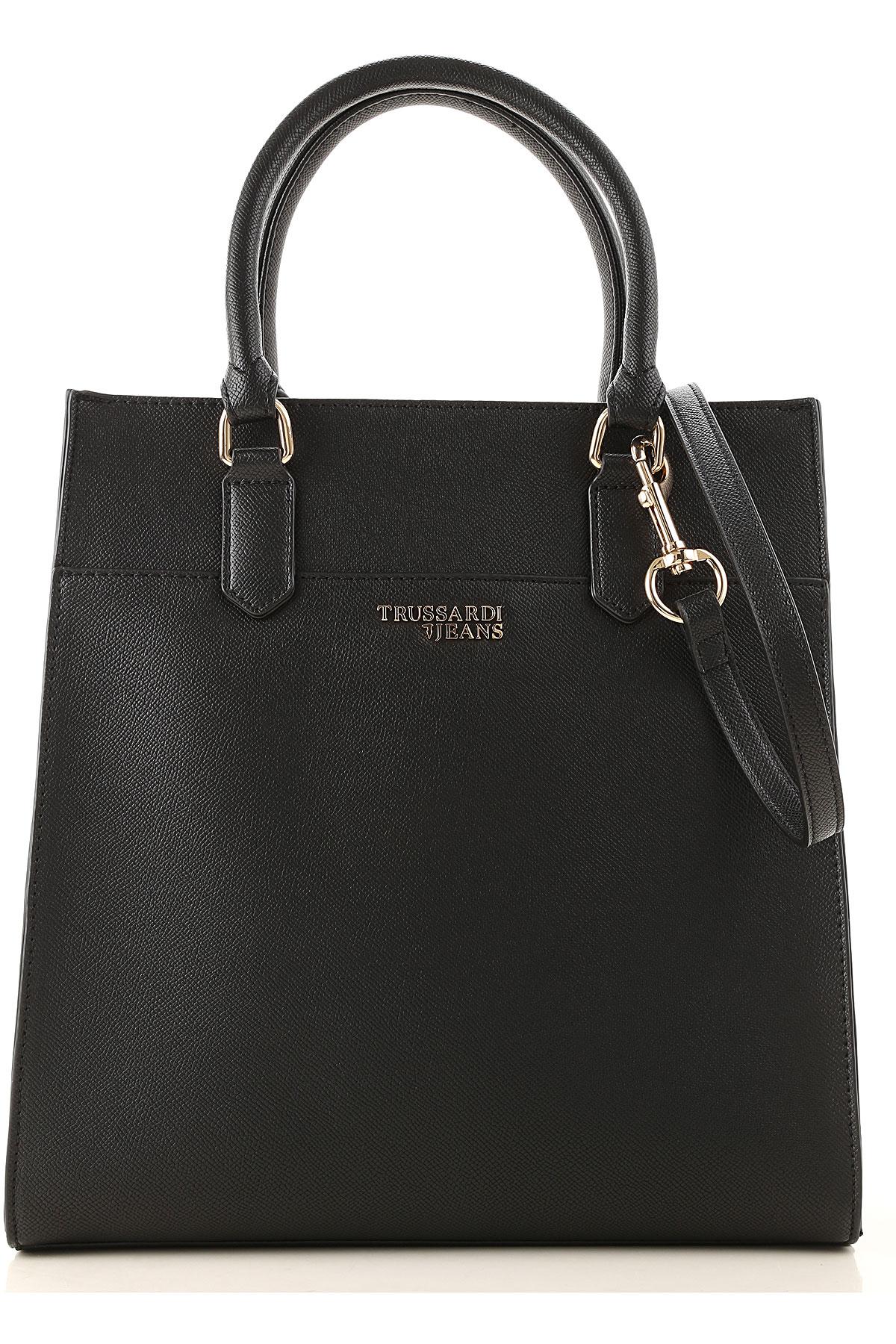 Trussardi Tote Bag On Sale, Black, Eco Leather, 2019