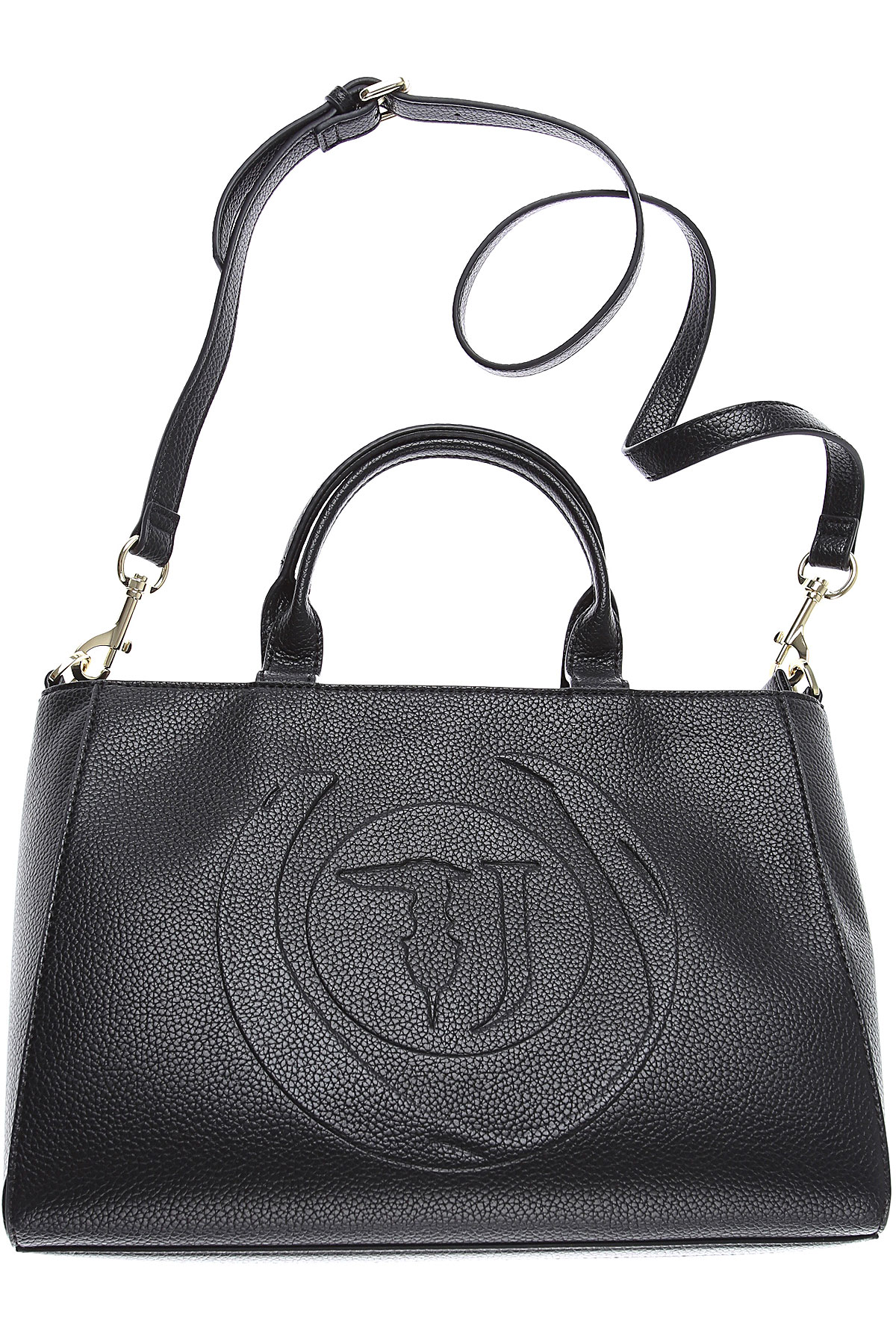 Trussardi Tote Bag On Sale in Outlet, Black, Tumbled Eco Leather, 2019