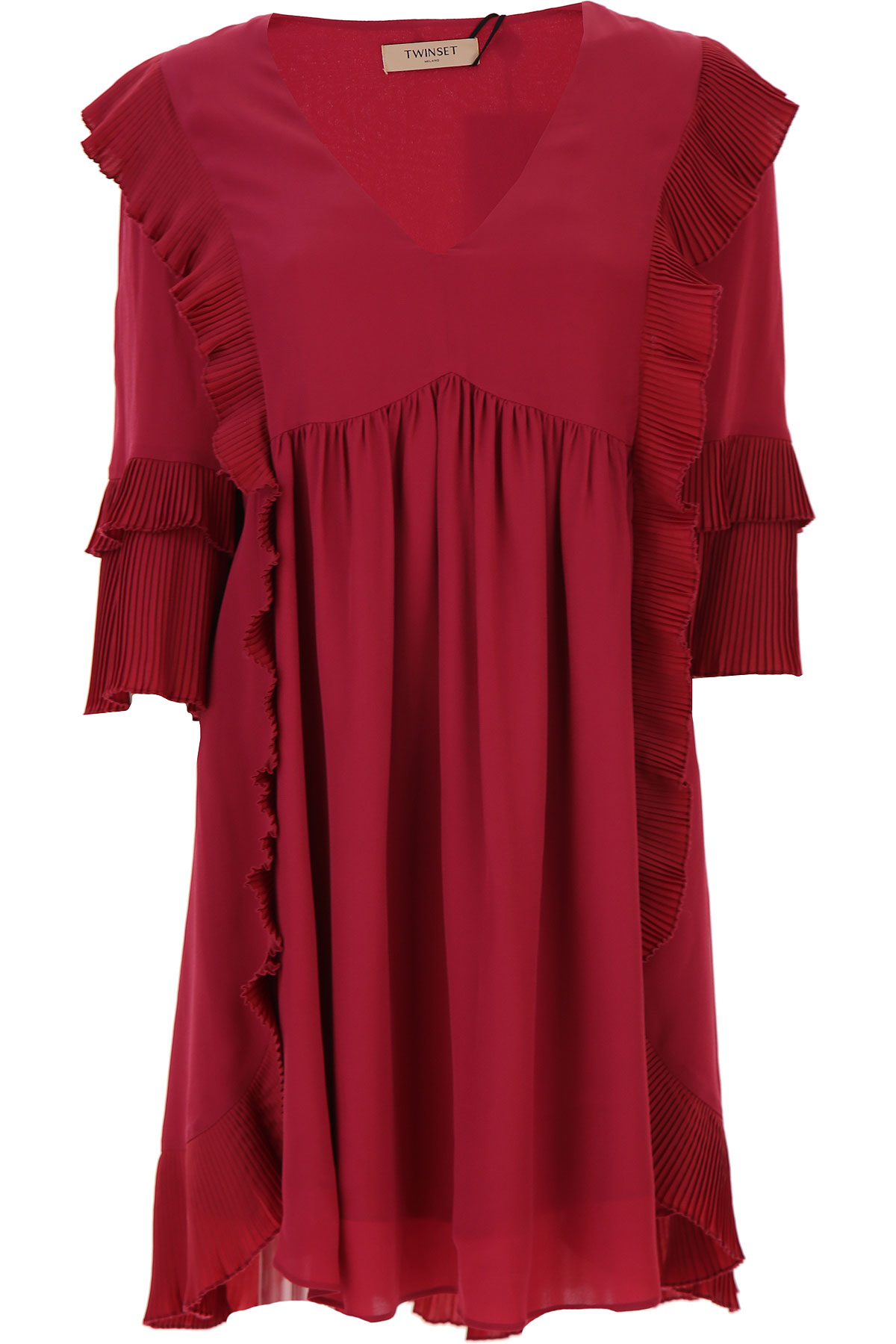 Twin Set by Simona Barbieri Dress for Women, Evening Cocktail Party On Sale, Beet Red, viscosa, 2019, 4 6 8