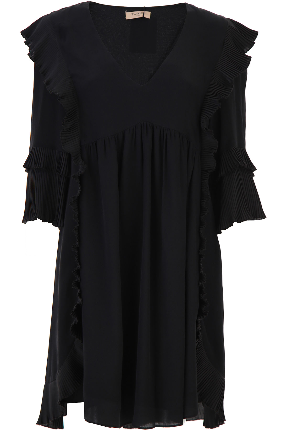 Twin Set by Simona Barbieri Dress for Women, Evening Cocktail Party On Sale, Black, viscosa, 2019, 4 6 8
