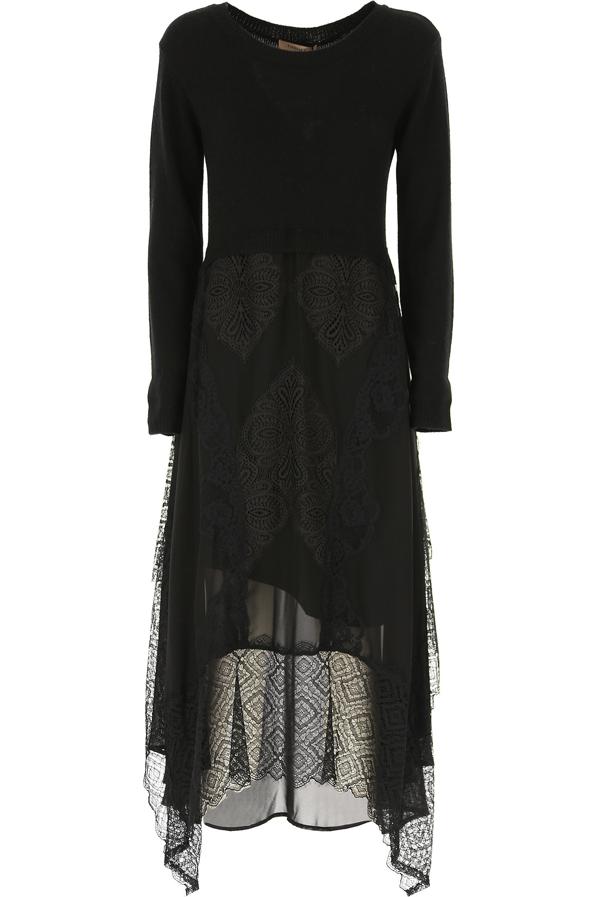 Twin Set by Simona Barbieri Dress for Women, Evening Cocktail Party On Sale, Black, polyester, 2019, 4 6 8