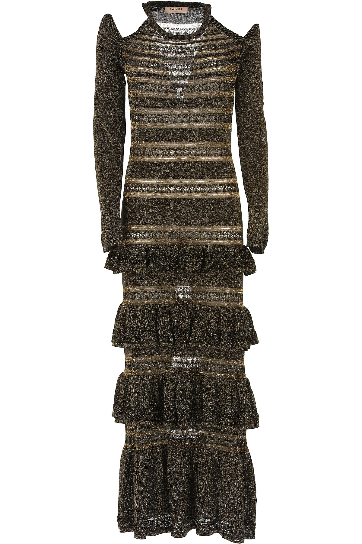 Twin Set by Simona Barbieri Dress for Women, Evening Cocktail Party On Sale, Black, polyester, 2019, 4 6