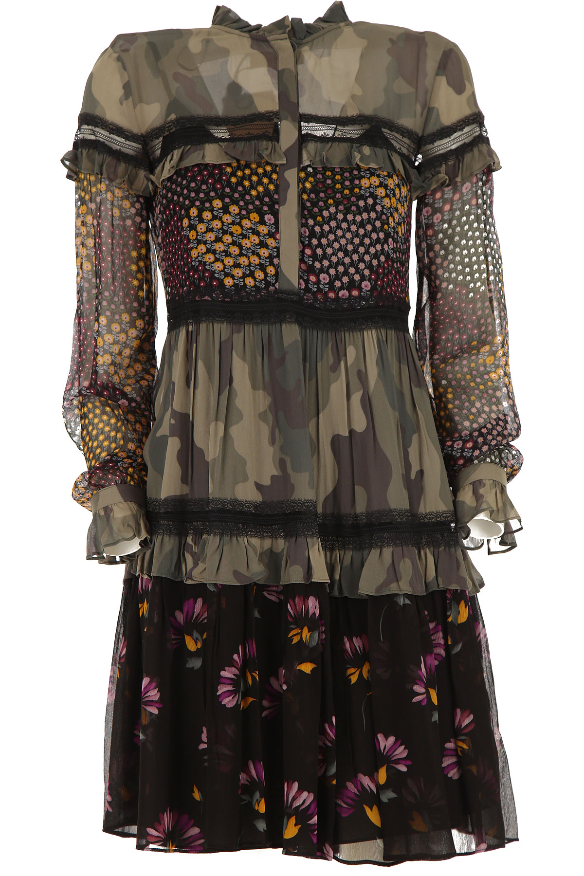 Twin Set by Simona Barbieri Dress for Women, Evening Cocktail Party On Sale, camouflage, polyestere, 2019, 2