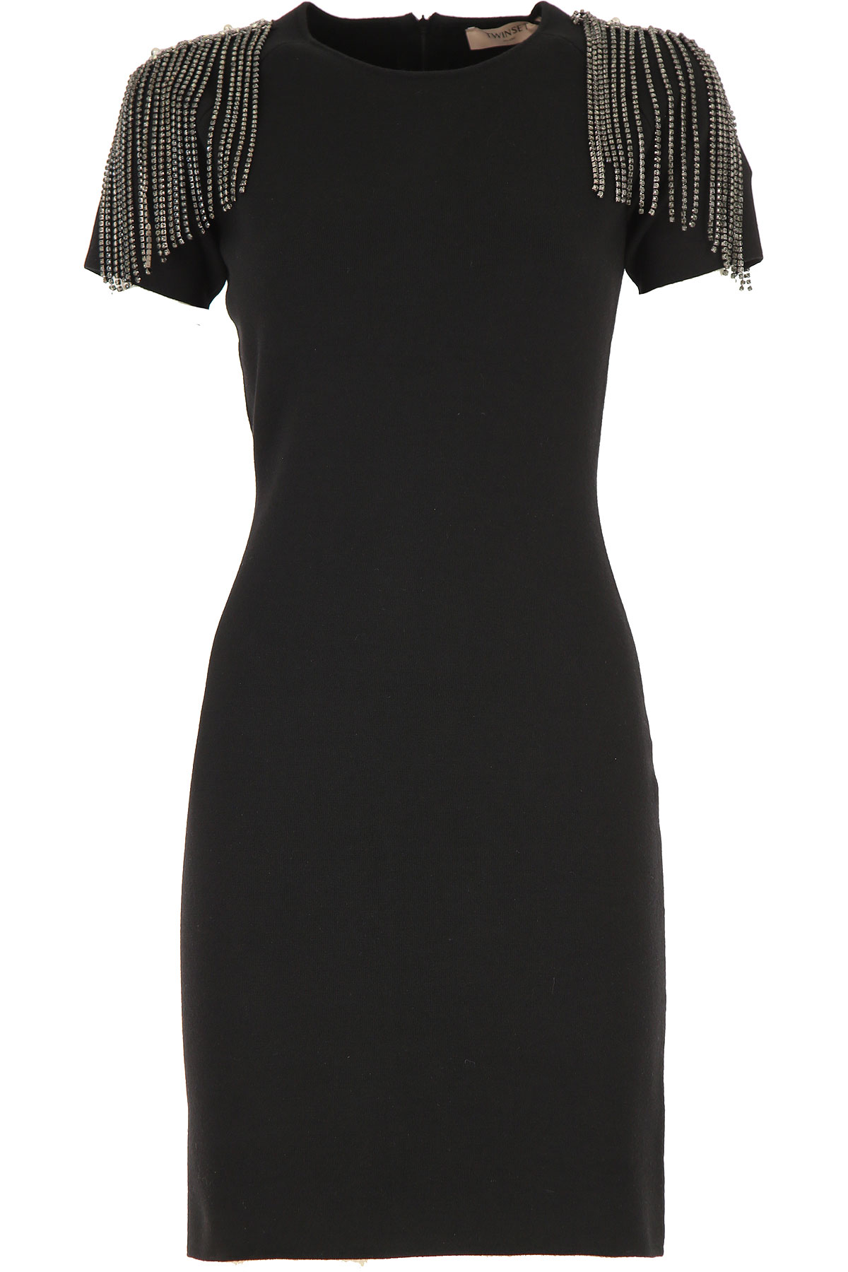 Twin Set by Simona Barbieri Dress for Women, Evening Cocktail Party On Sale, Black, polyestere, 2019, 2