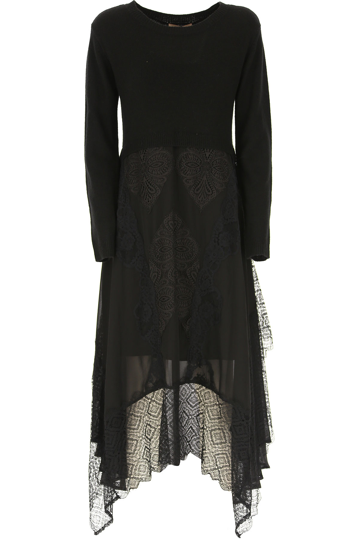 Twin Set by Simona Barbieri Dress for Women, Evening Cocktail Party On Sale, Black, Viscose, 2019, 10 4 6 8