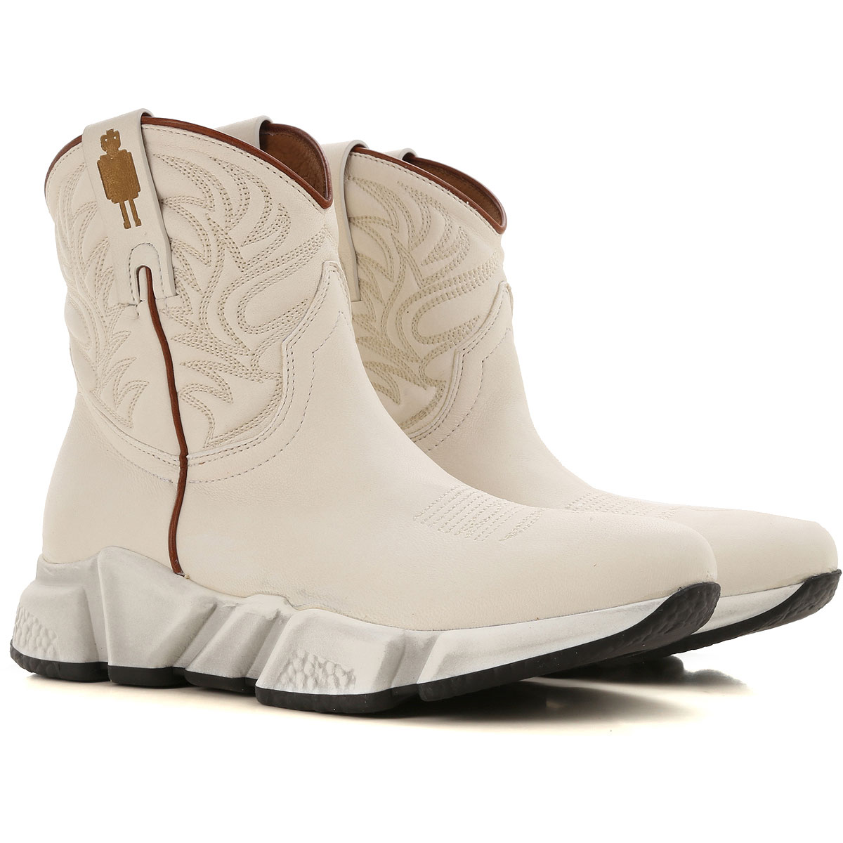 Image of Texas Robot Boots for Women, Booties, White, Leather, 2017, 10 6 7 8 9