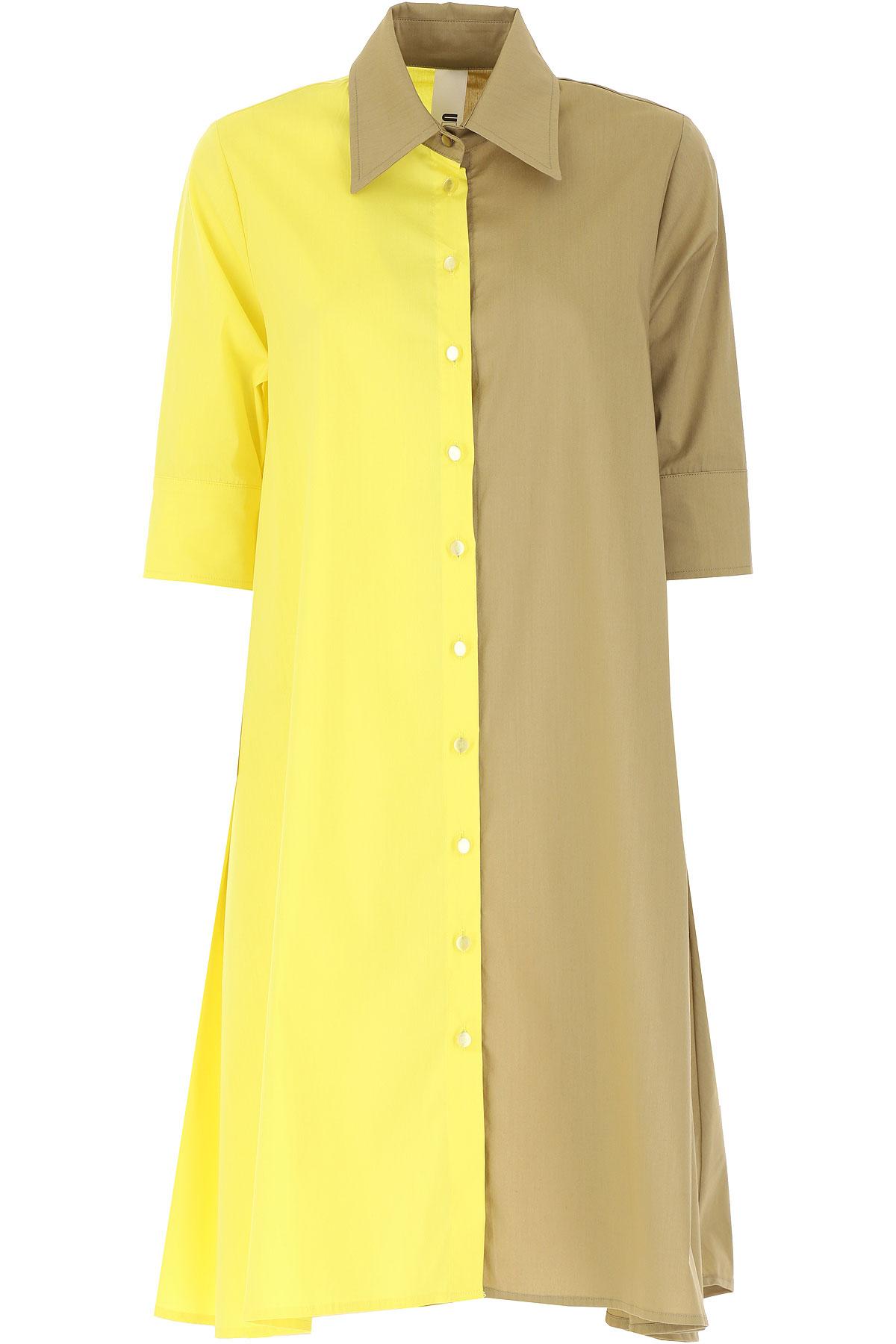 Ultrachic Dress for Women, Evening Cocktail Party On Sale, Lemon, Cotton, 2019, 4 6 8