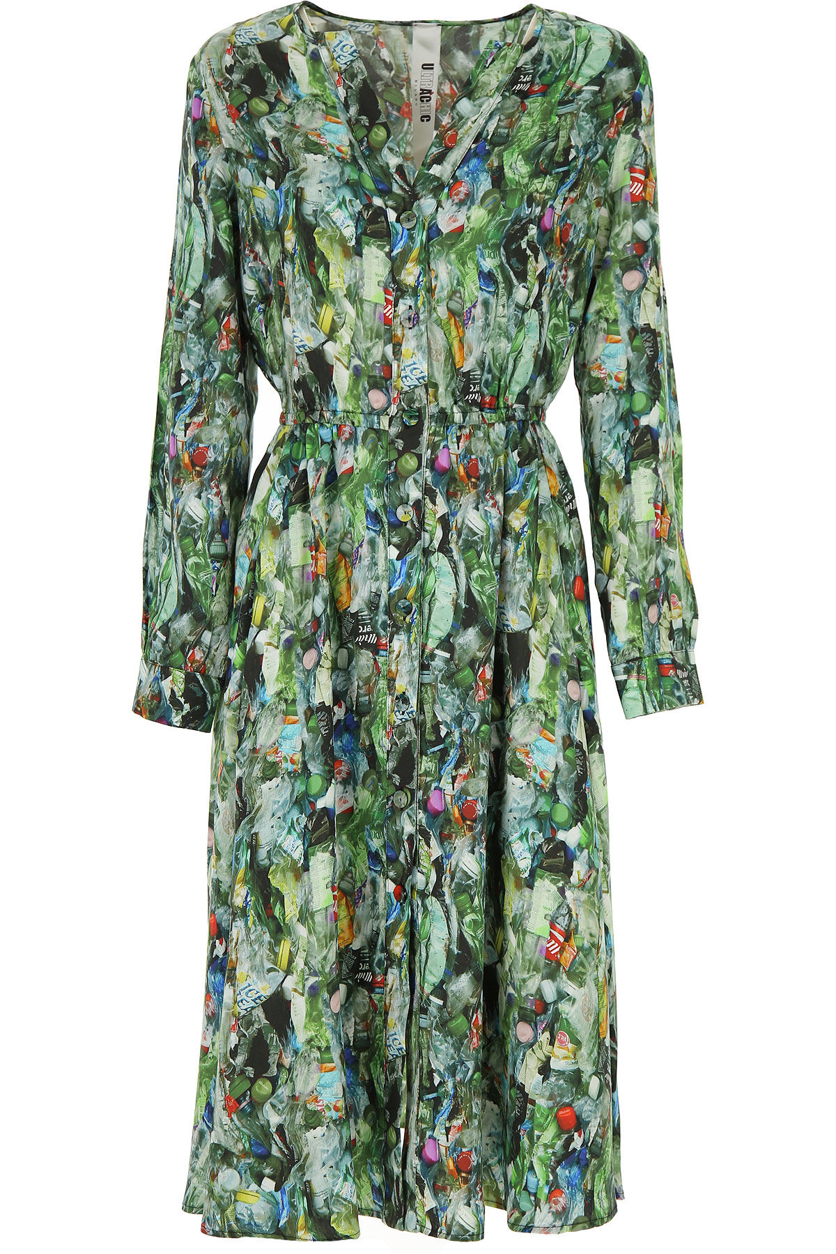 Ultrachic Dress for Women, Evening Cocktail Party On Sale, Green, viscosa, 2019, 4 6 8