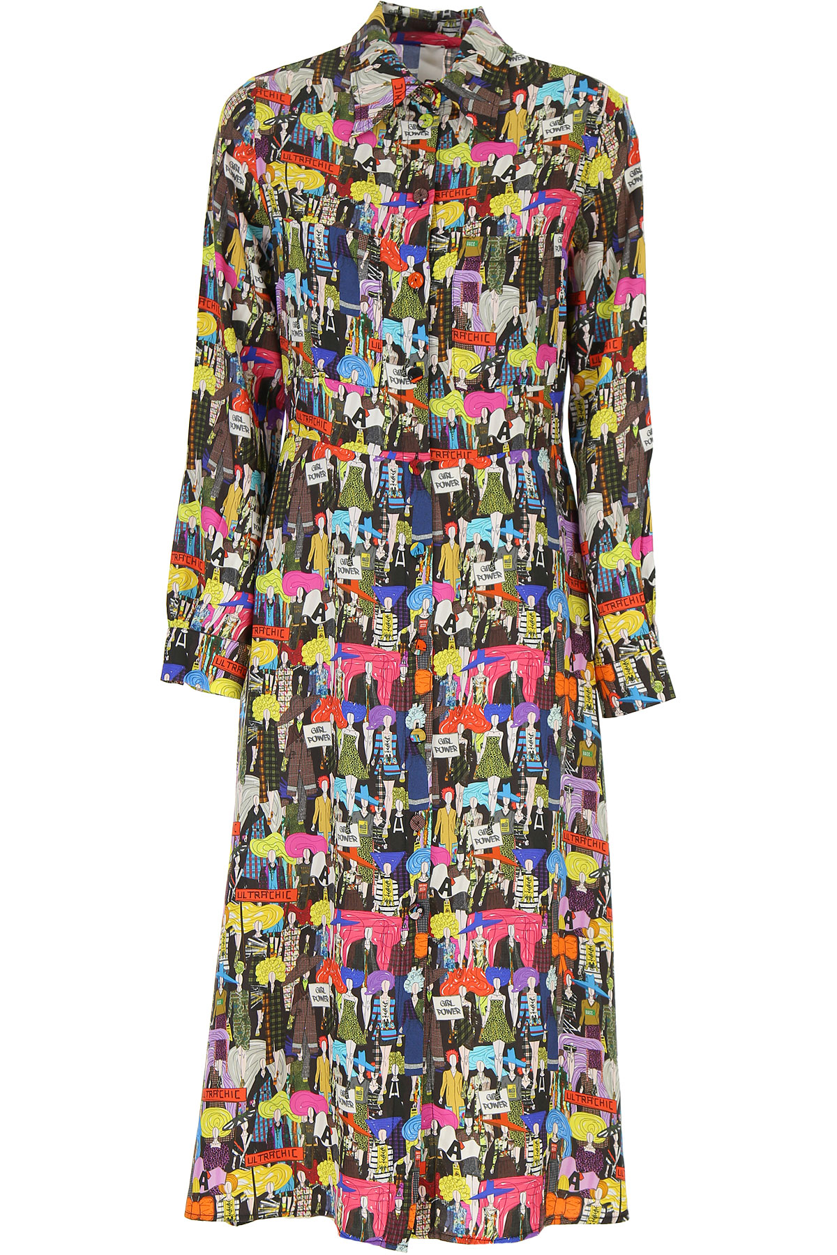 Ultrachic Dress for Women, Evening Cocktail Party On Sale, Multicolor, viscosa, 2019, 6 8
