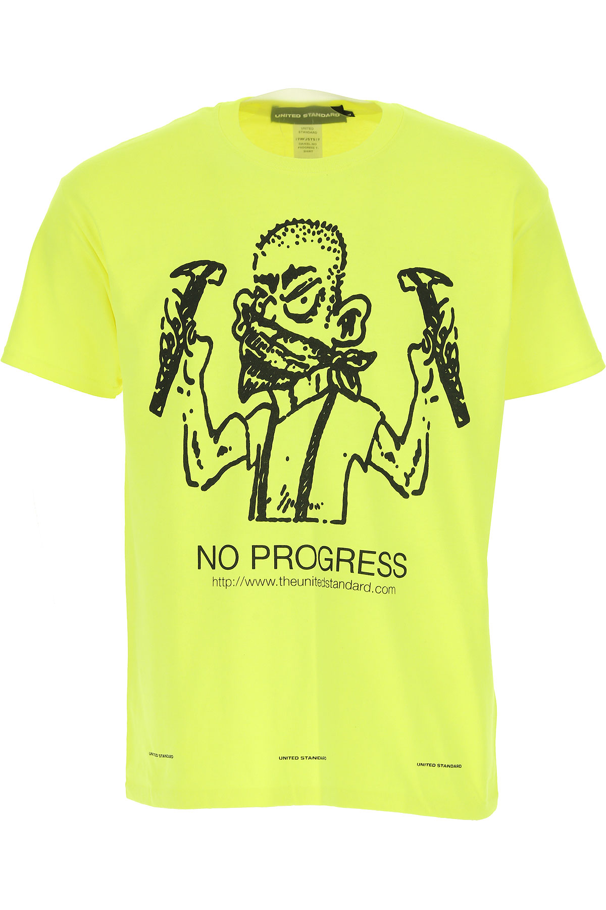 United Standard T-Shirt for Men On Sale, fluo yellow, Cotton, 2019, L XL