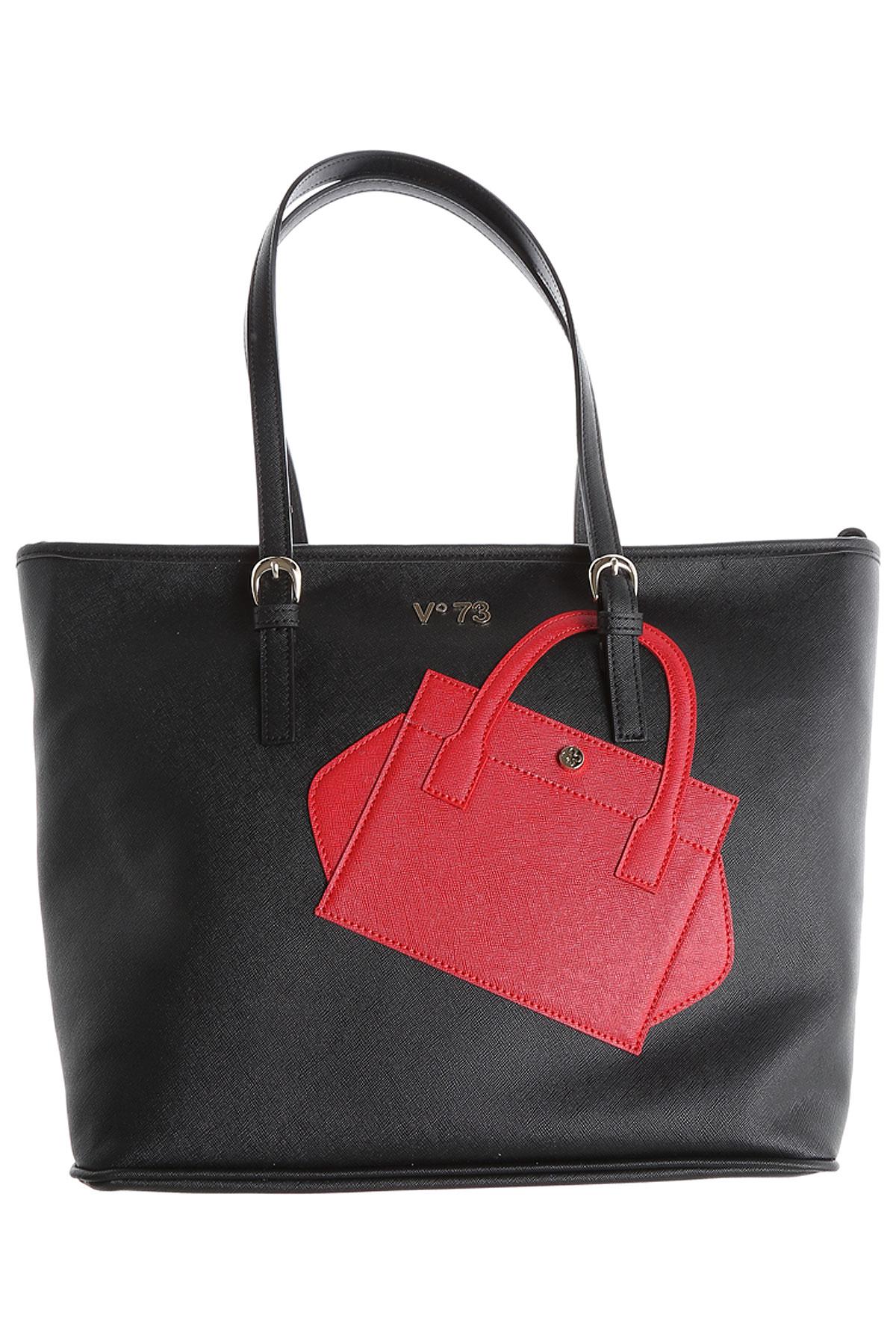 Image of V73 Tote Bag On Sale, Black, Leather, 2017