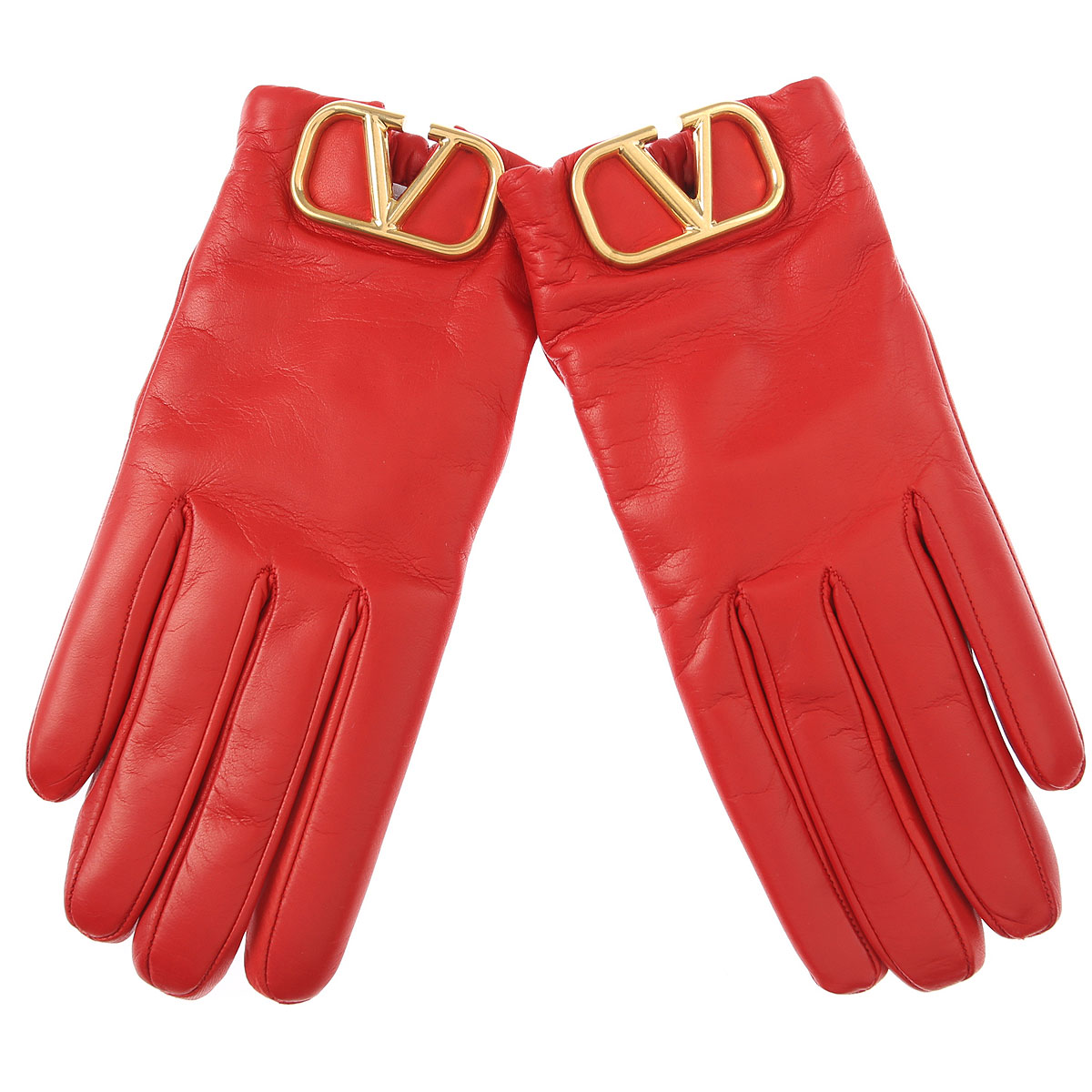 Valentino Gloves for Women, Red, Leather, 2019, 6 1/2 7 1/2