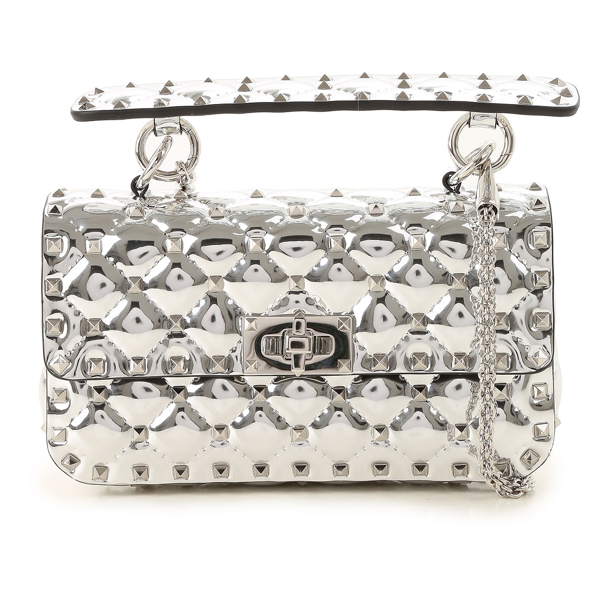 Valentino Shoulder Bag for Women, Silver, Leather, 2017 USA-470966