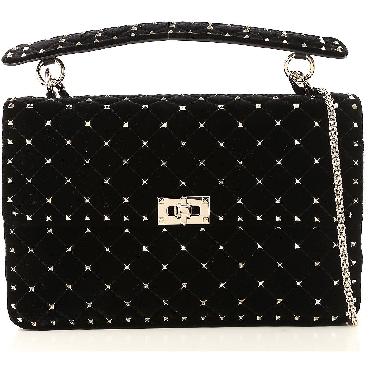 Valentino Shoulder Bag for Women, Black, Velvet, 2017 USA-470977