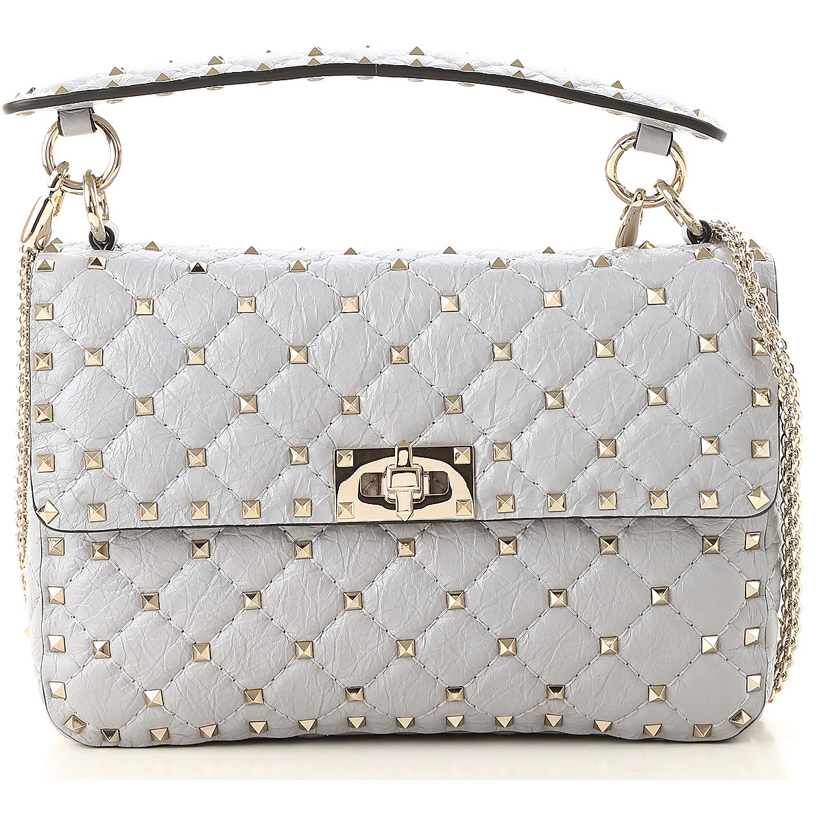 Valentino Shoulder Bag for Women, Pearl Grey, Leather, 2017 USA-470973