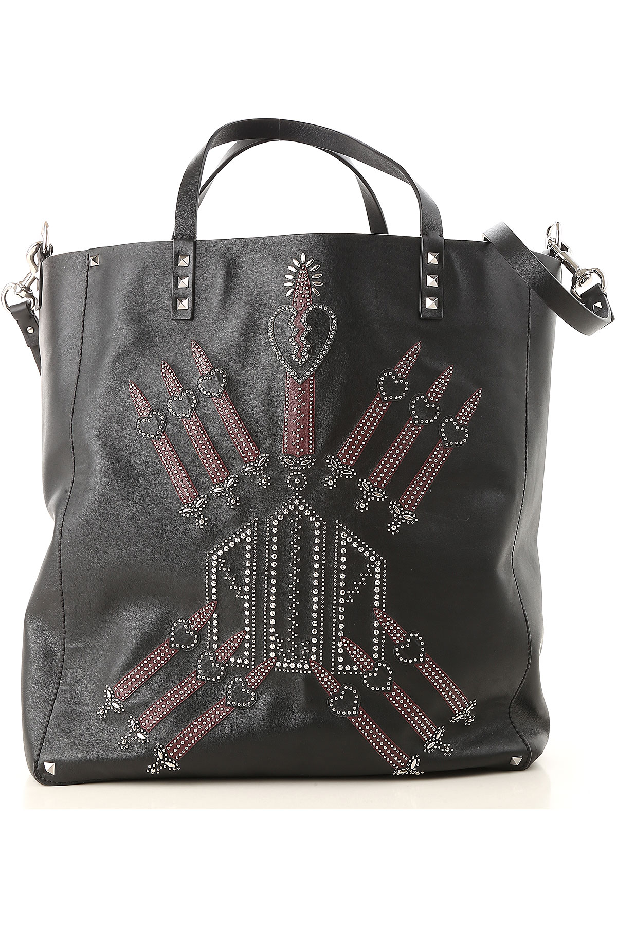 Image of Valentino Totes On Sale in Outlet, Rockstud Love Blade, Black, Leather, 2017