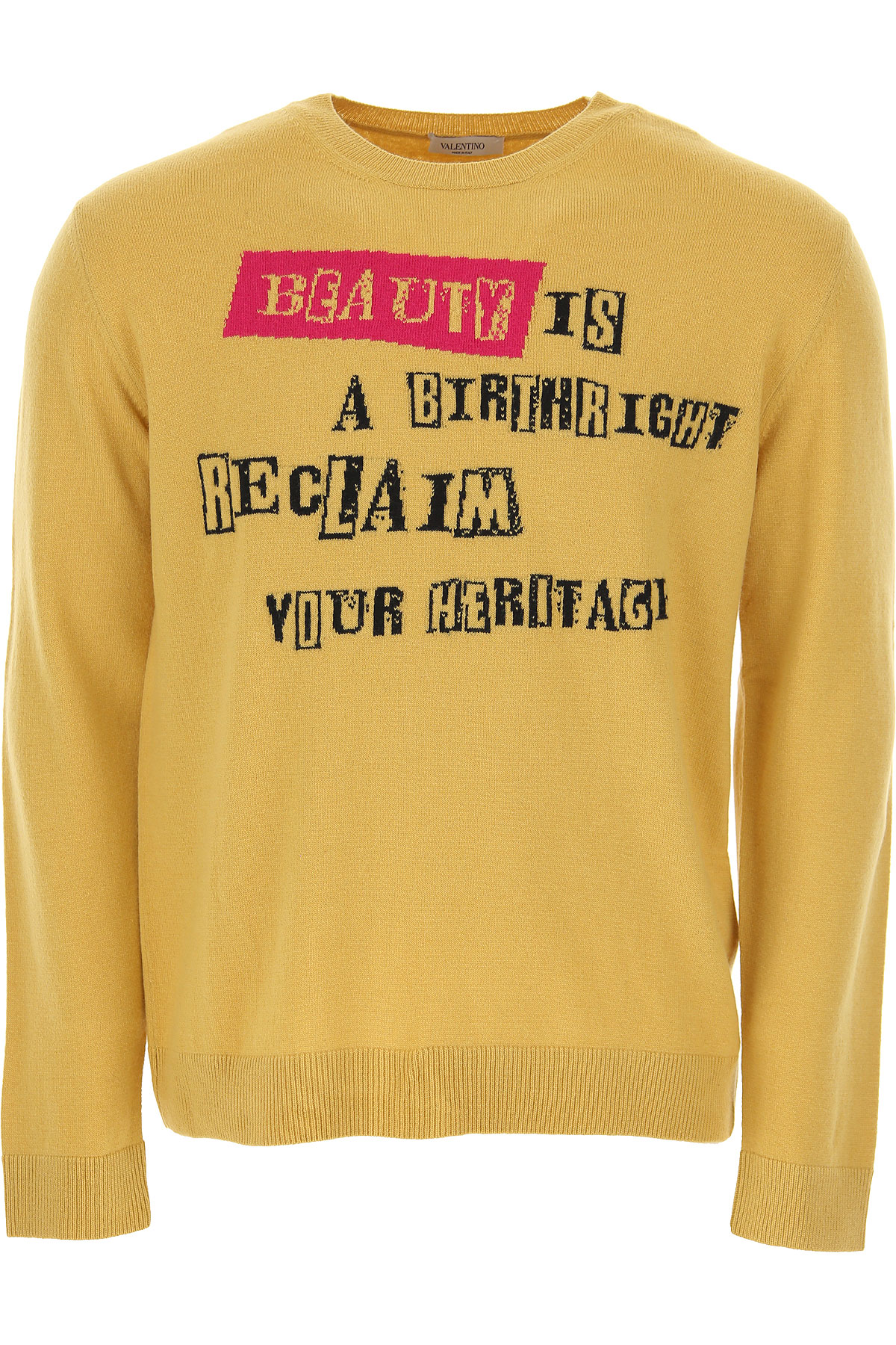 Valentino Sweater For Men Jumper On Sale In Outlet, Mustard, Virgin Wool, 2021, L S