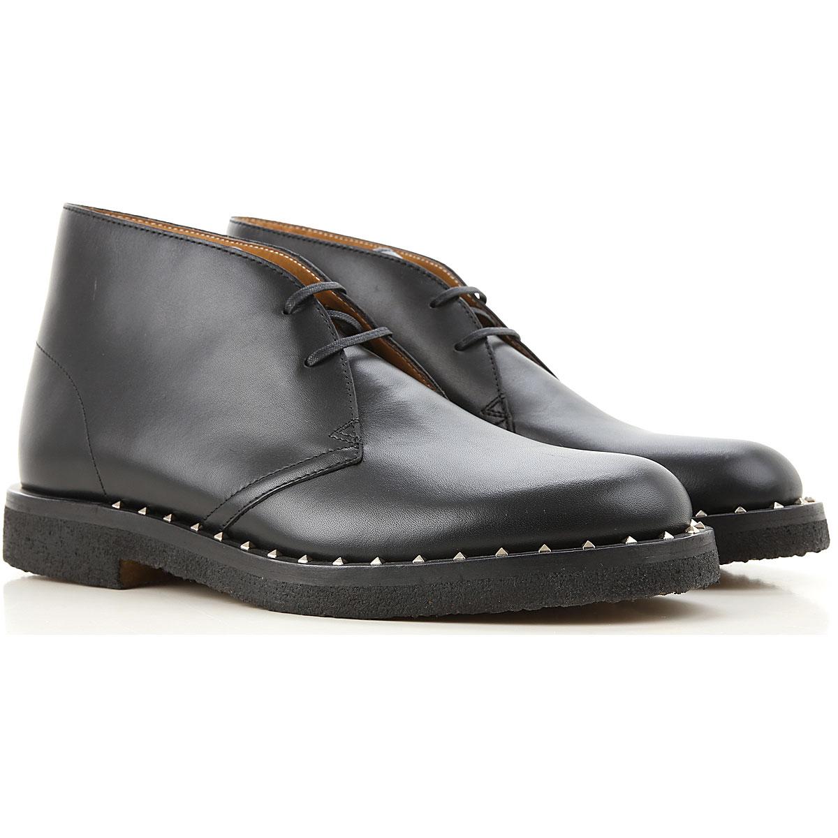 Valentino Garavani Desert Boots Chukka for Men On Sale in Outlet, Black, Leather, 2019, 8 8.5 9 9.5