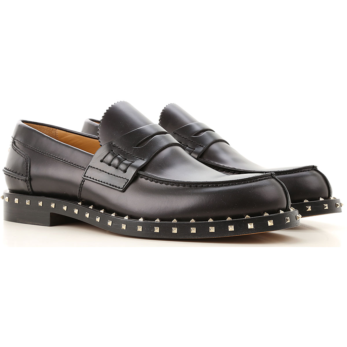 Valentino Garavani Loafers for Men On Sale in Outlet, Black, Leather, 2019, 10 7.5 8 8.5 9 9.5