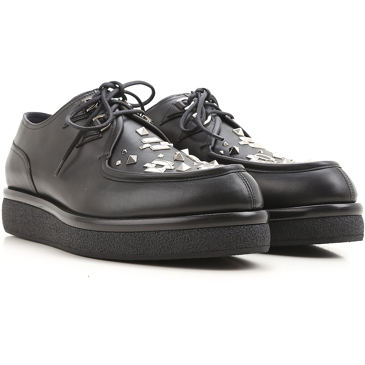 Valentino Garavani Lace Up Shoes for Men Oxfords, Derbies and Brogues On Sale in Outlet, Black, Leather, 2019, 6.5 7 7.5 7.75
