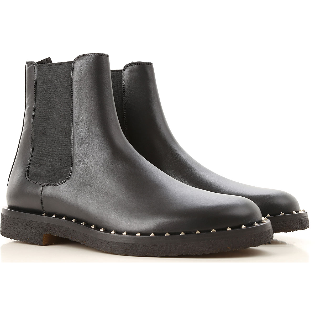 Valentino Garavani Boots for Men, Booties On Sale in Outlet, Black, Leather, 2019, 6.5 8