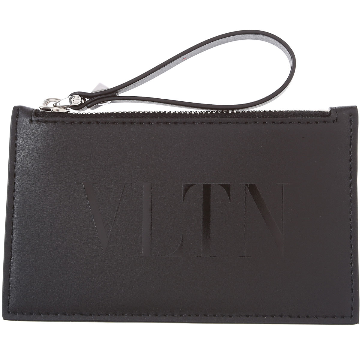 Valentino Card Holder for Men, Black, Leather, 2019