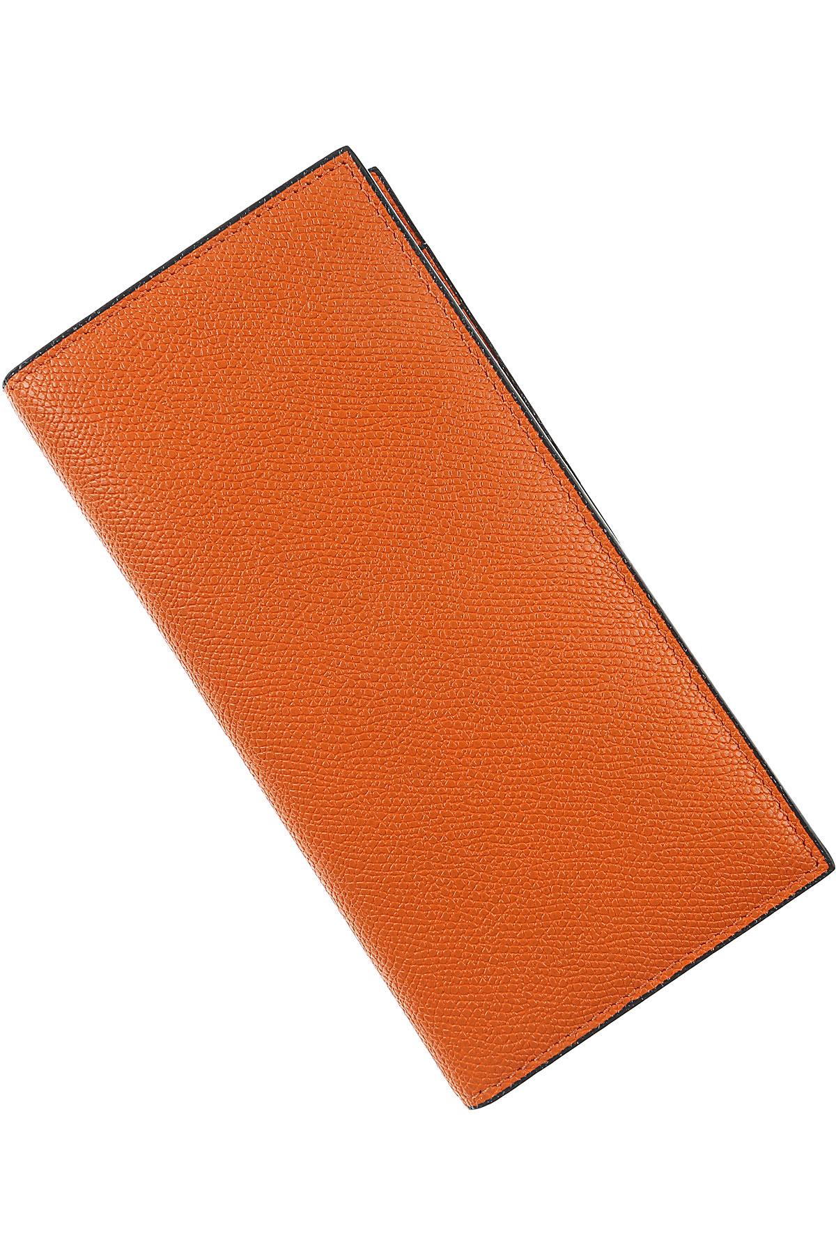 Image of Valextra Card Holder for Men, Orange, Leather, 2017