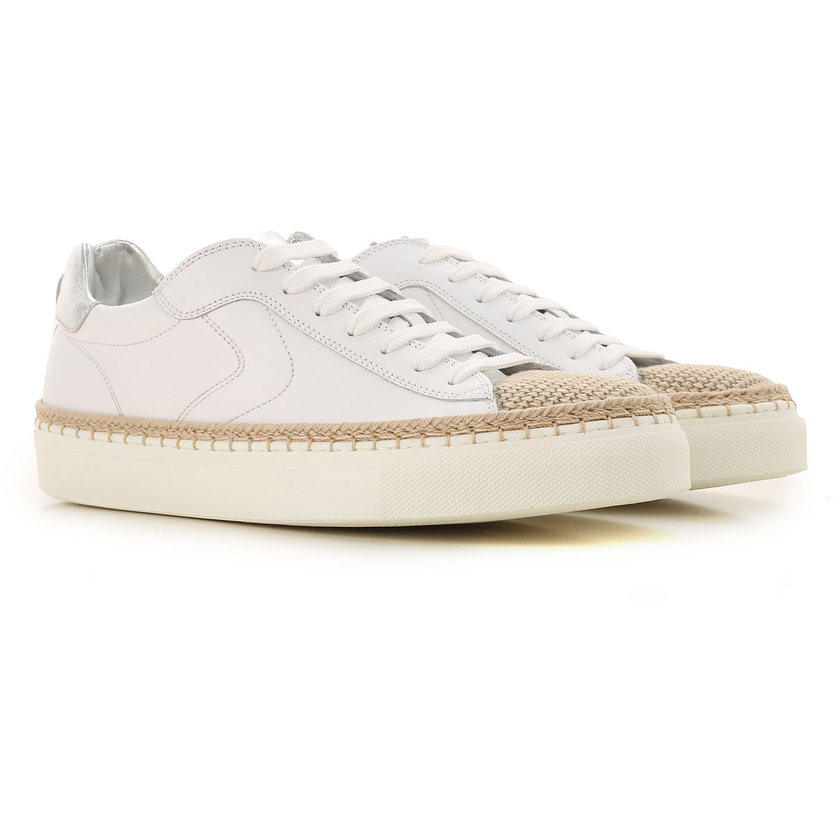 Voile Blanche Sneakers for Women On Sale, White, Leather, 2019, 10 7 8