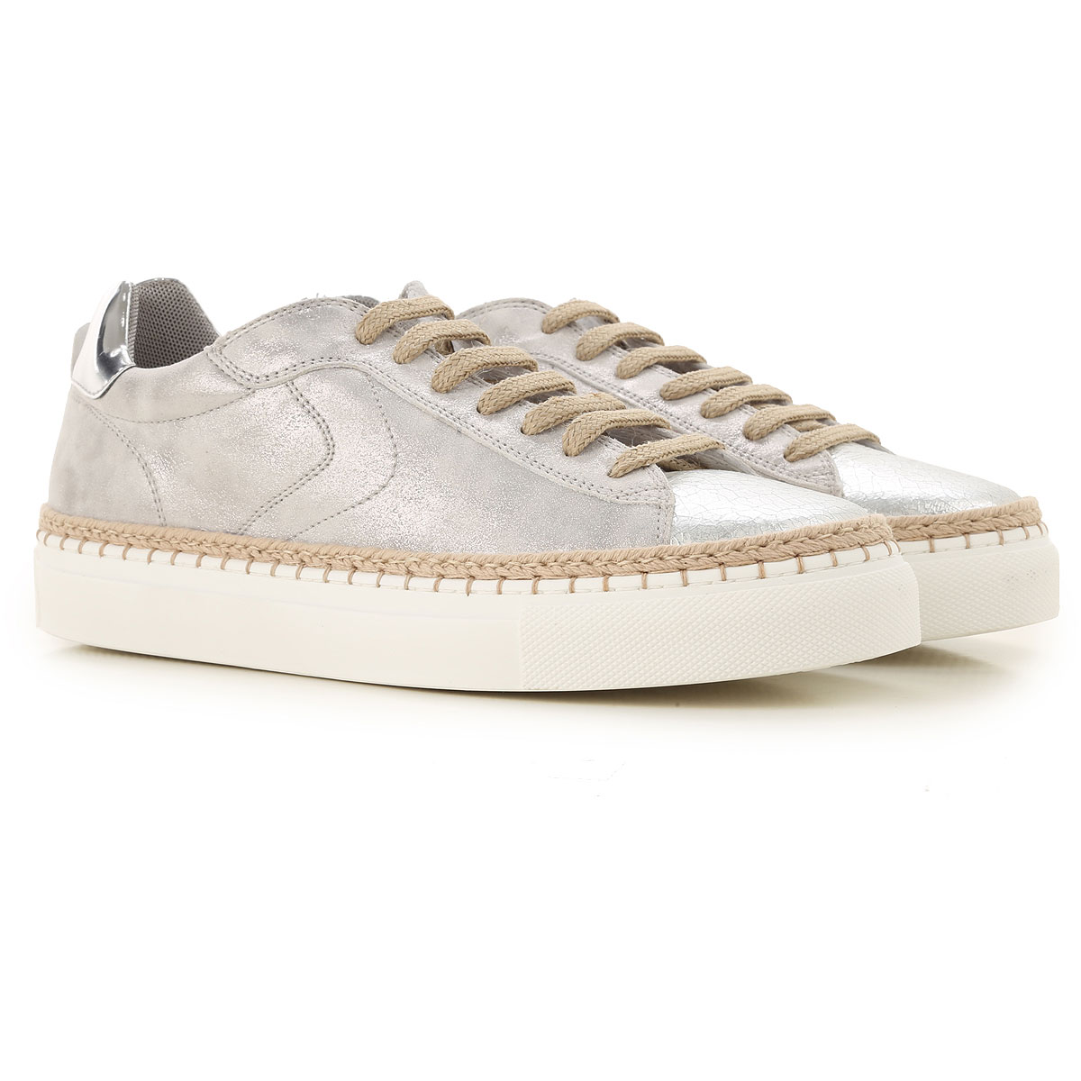 Voile Blanche Sneakers for Women On Sale, Silver, Leather, 2019, 6 7 8 9