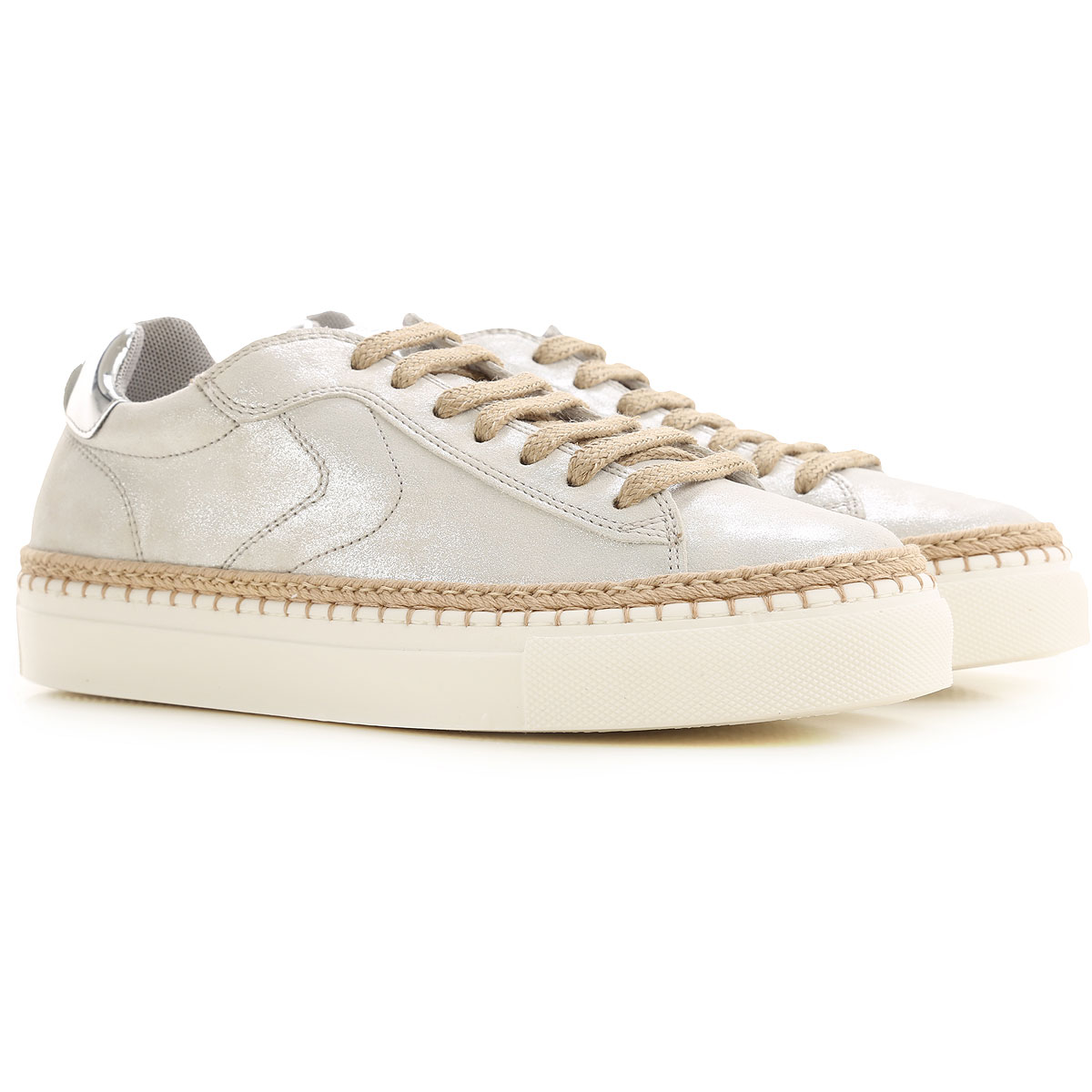 Voile Blanche Sneakers for Women On Sale in Outlet, Silver, Leather, 2019, 7 8 9