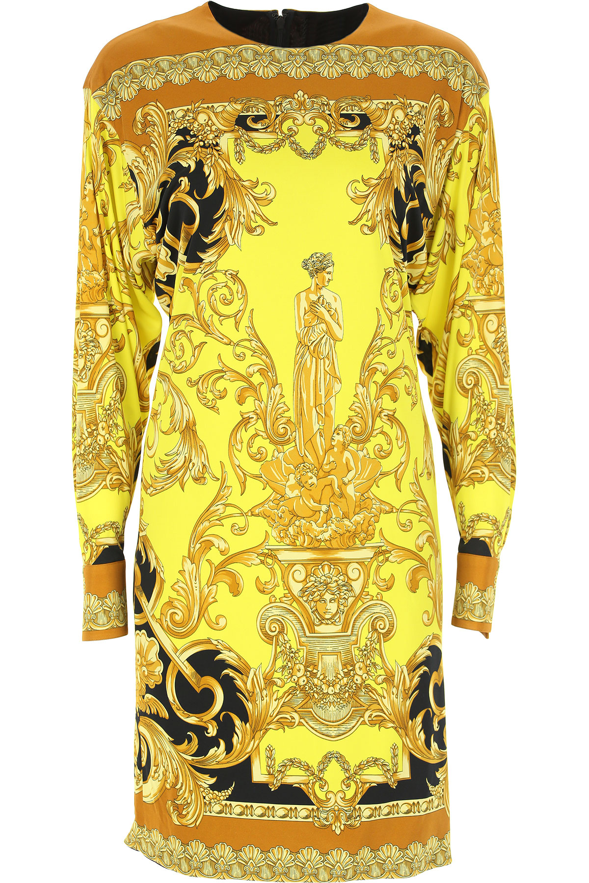 Versace Dress for Women, Evening Cocktail Party, Yellow, Viscose, 2019, 1 - S - IT 40 2 - M - IT 42