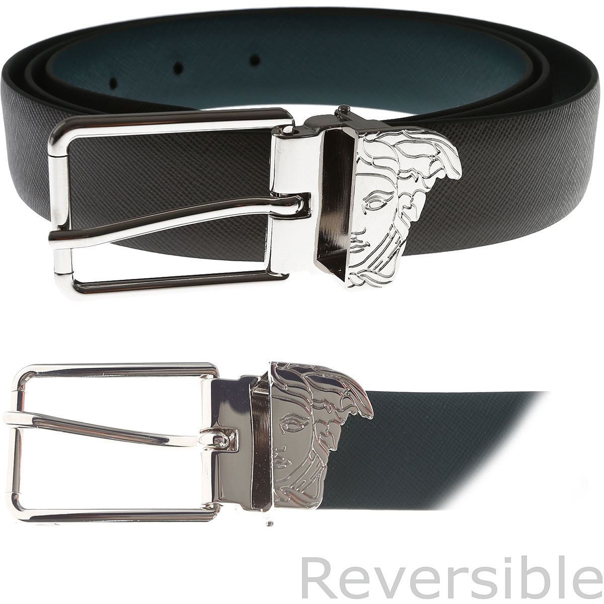 Image of Gianni Versace Belts, Reversible, Dark Grey, Leather, 2017