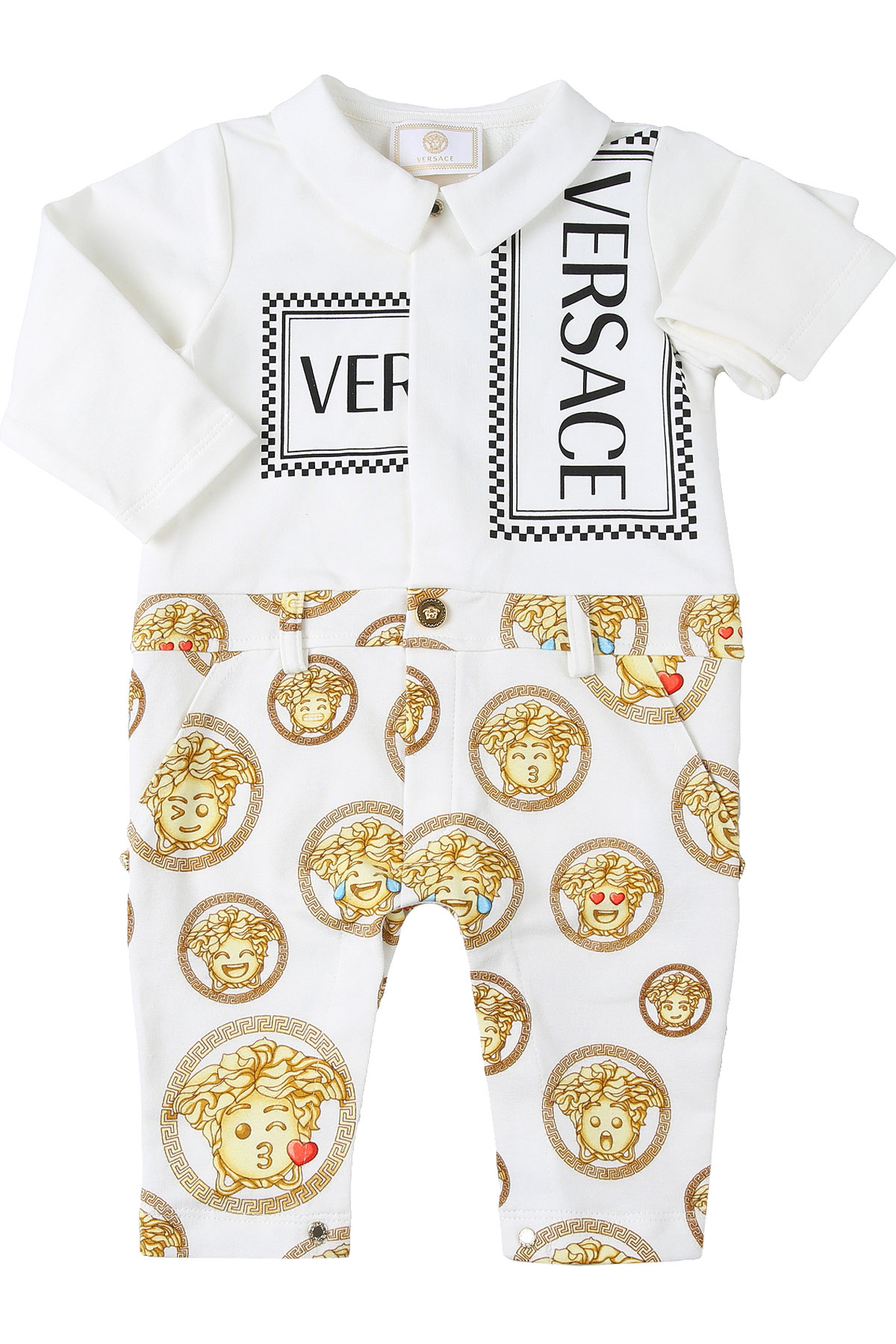 Versace Baby Bodysuits & Onesies for Boys On Sale, White, Cotton, 2019, 12 M 6M 9M