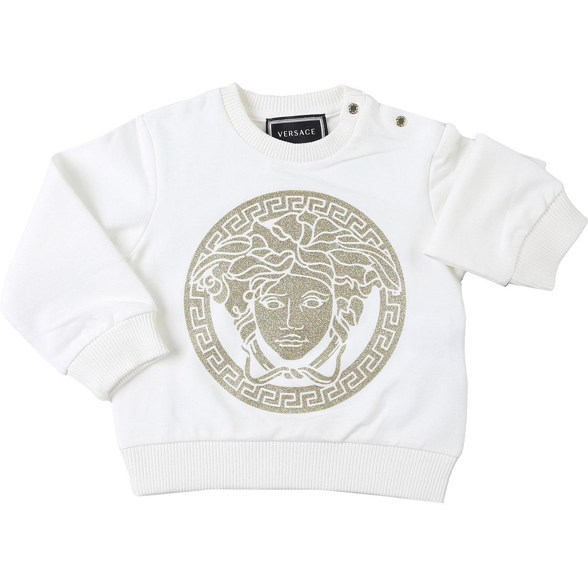 Versace Baby Sweatshirts & Hoodies for Girls On Sale, White, Cotton, 2019, 12M 18M 24M 2Y 3Y 6M 9M