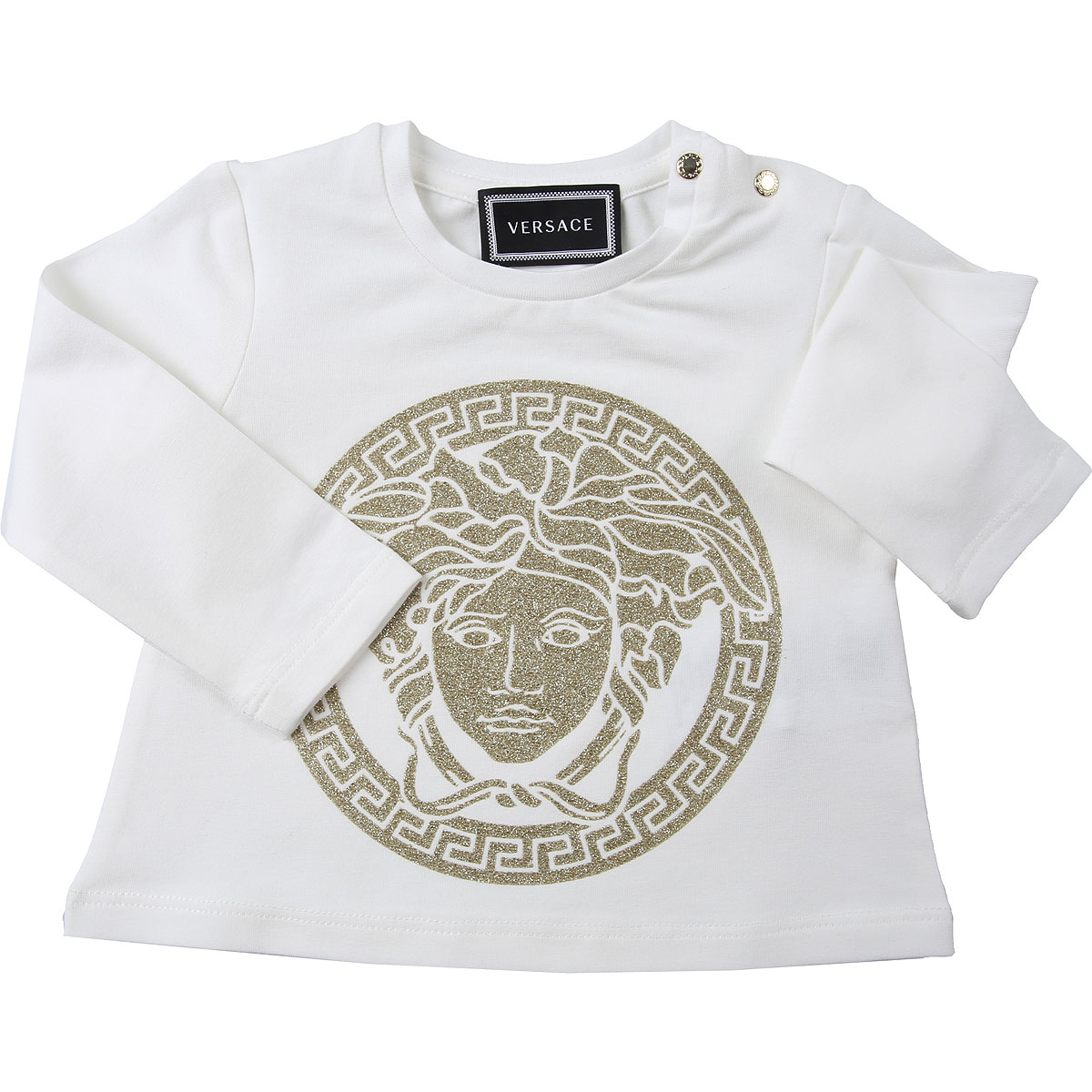 Versace Baby T-Shirt for Girls On Sale, White, Cotton, 2019, 12M 9M