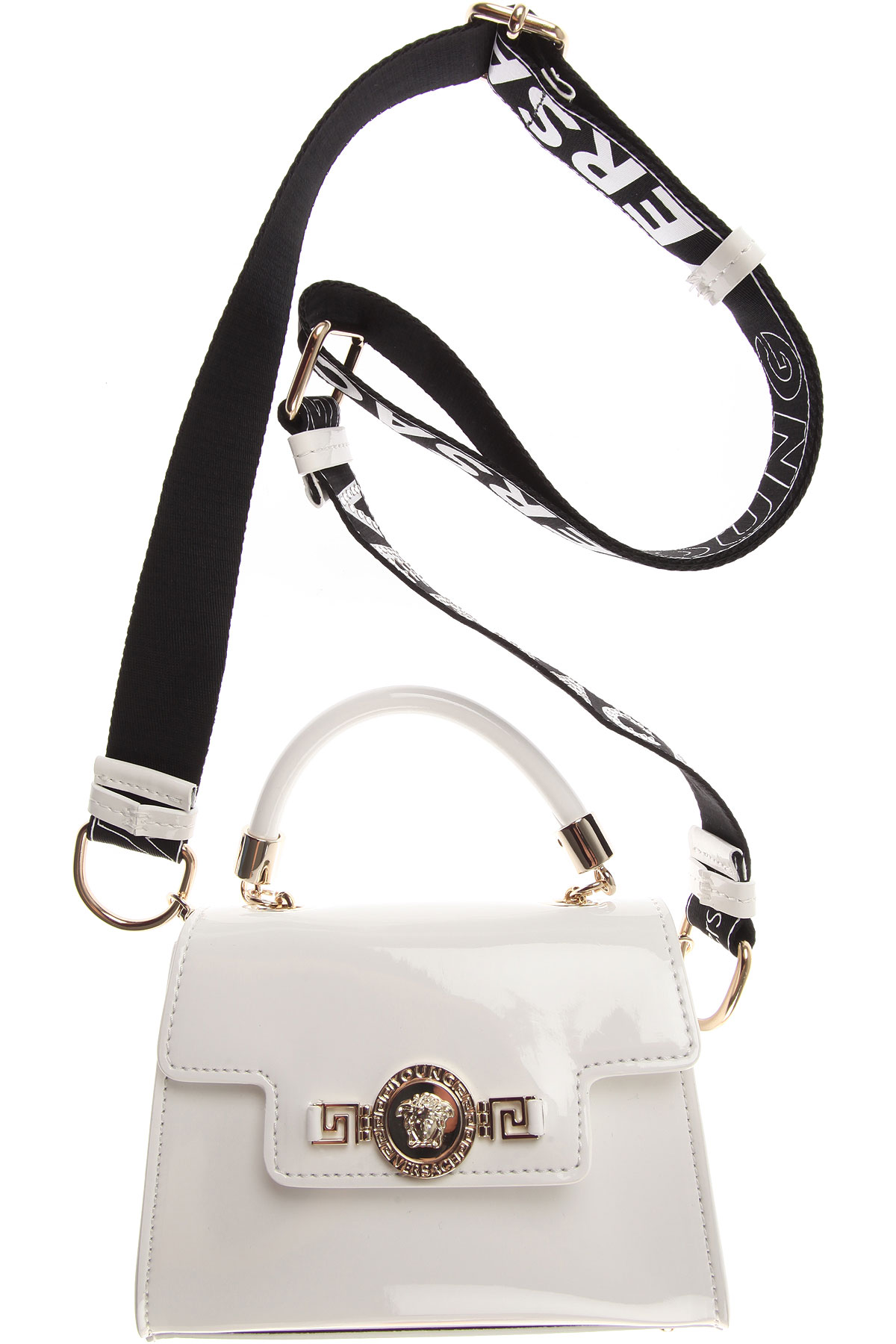 Image of Versace Baby Girls Handbag, Patent White, Calf Leather, 2017