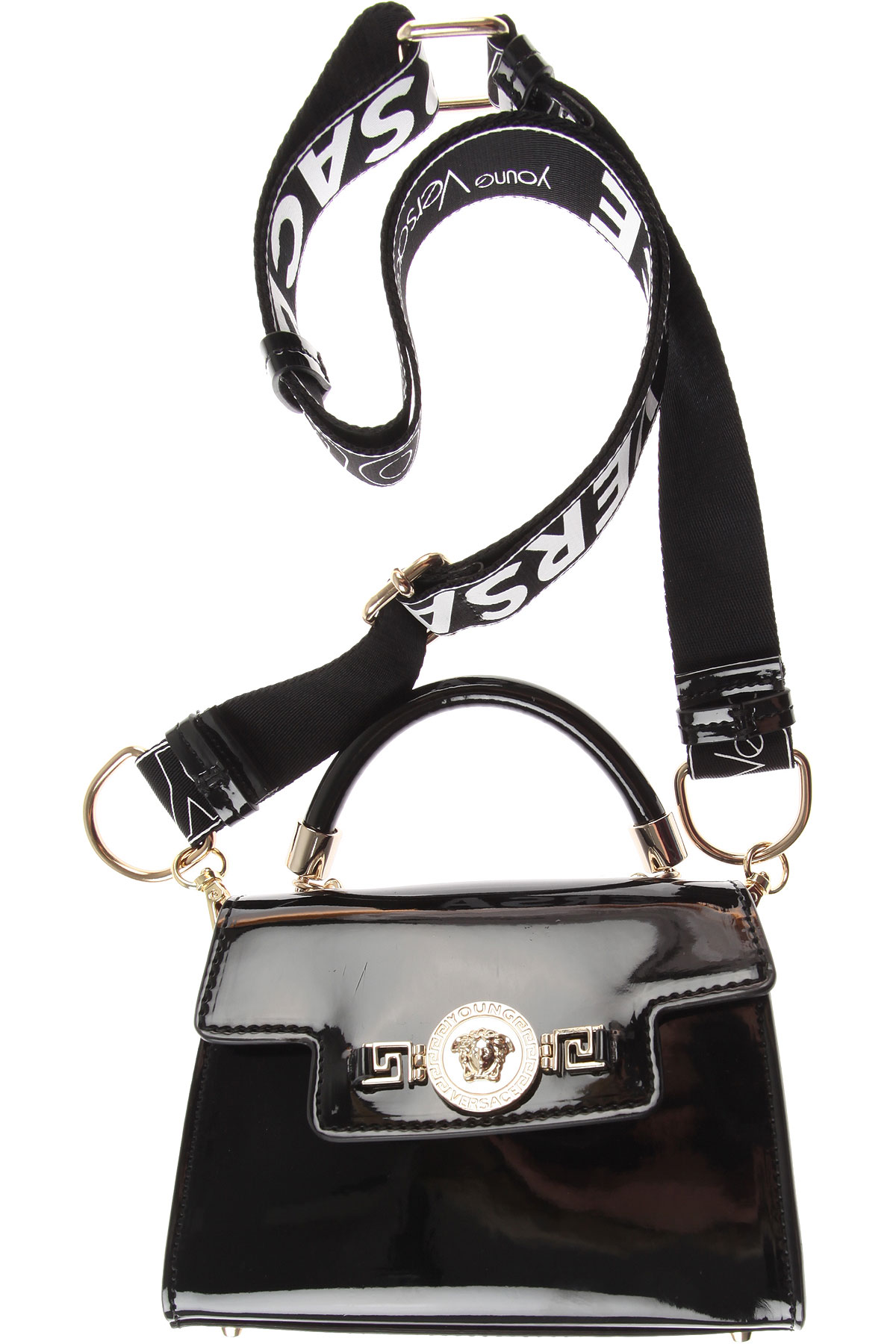 Image of Versace Baby Girls Handbag, Patent Black, Calf Leather, 2017