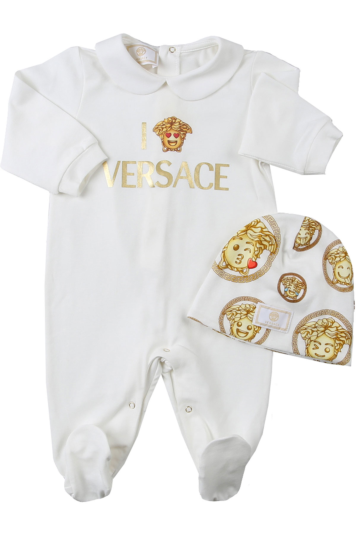 Versace Baby Sets for Girls On Sale, White, Cotton, 2019, 12M 6M