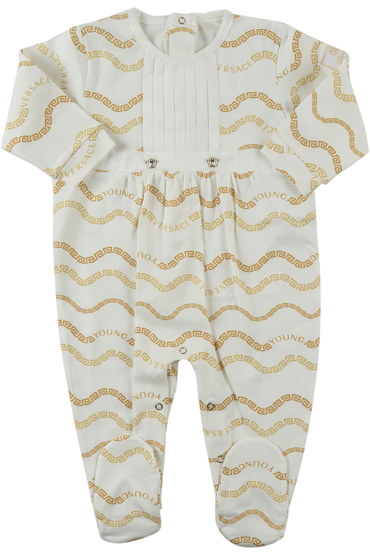 Image of Versace Baby Bodysuits & Onesies for Girls, White, Cotton, 2017, 1M 3M 6M