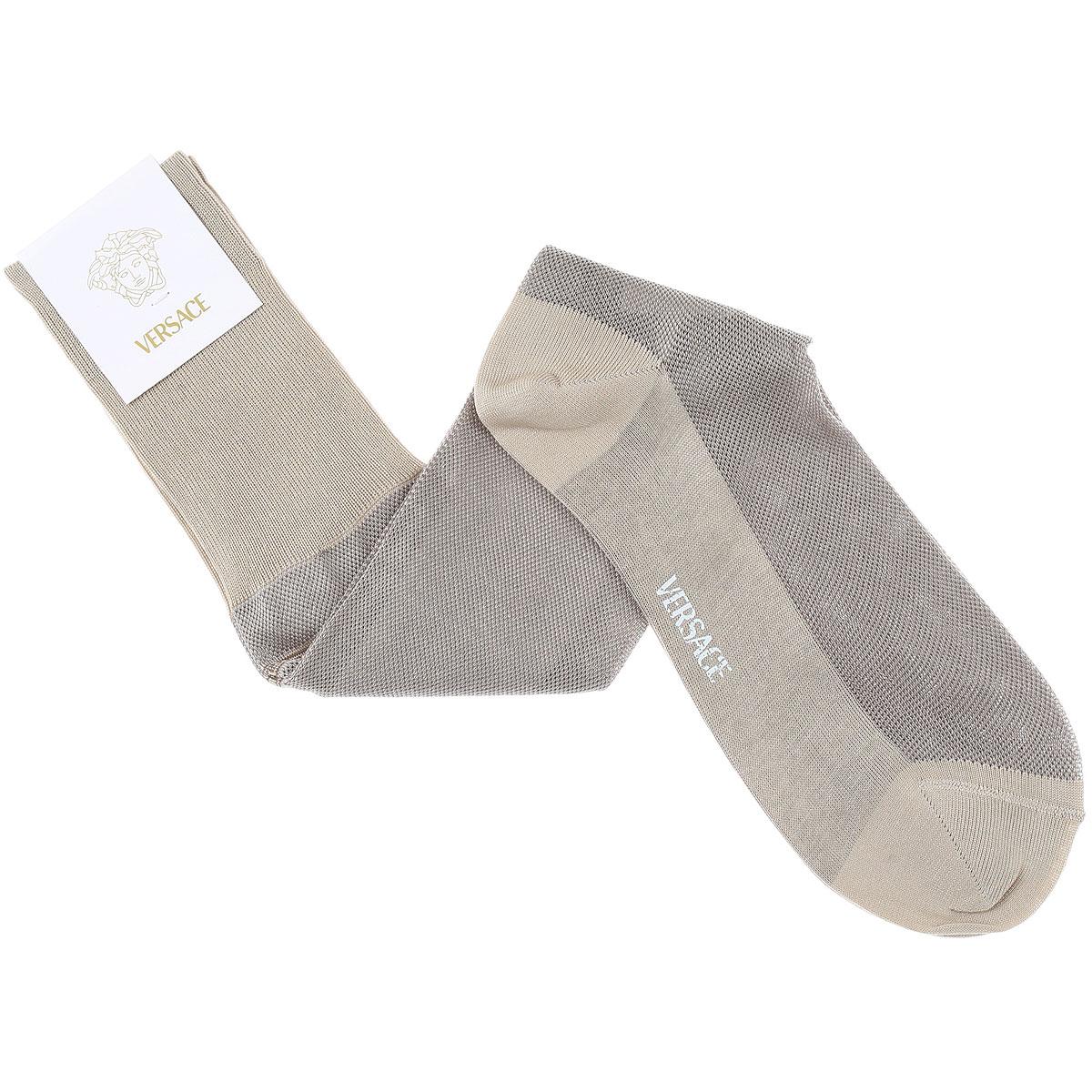 Versace Socks Socks for Men On Sale, Beige, Cotton, 2019, 11 (Shoe Size: EU 43 - US 9) 12 (Shoe Size: EU 44 - US 10)