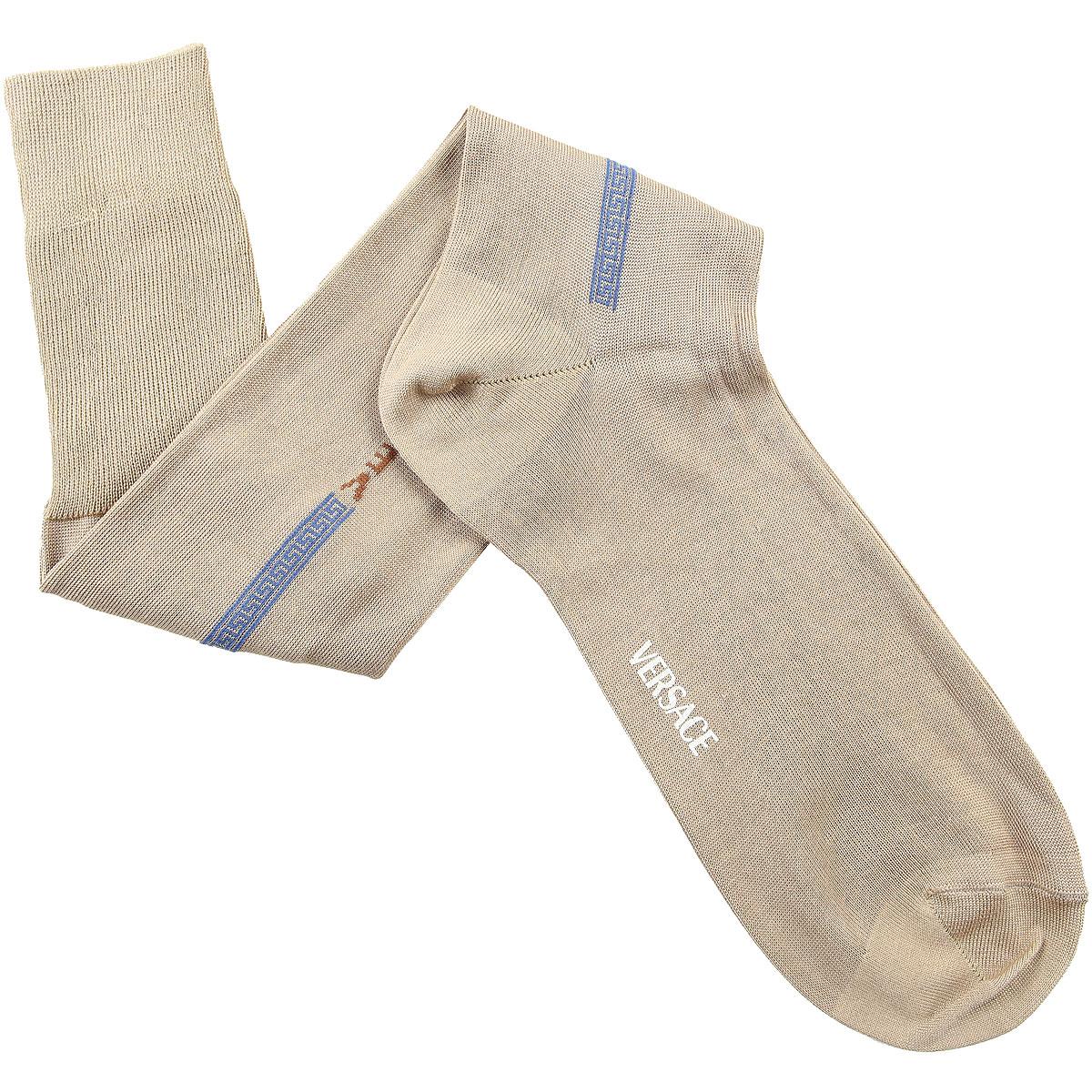 Versace Socks Socks for Men On Sale in Outlet, Beige, Lisle Cotton Thread, 2019, 12 (Shoe Size: EU 44 - US 10) 12.5 (Shoe Size: EU 44.5 - US