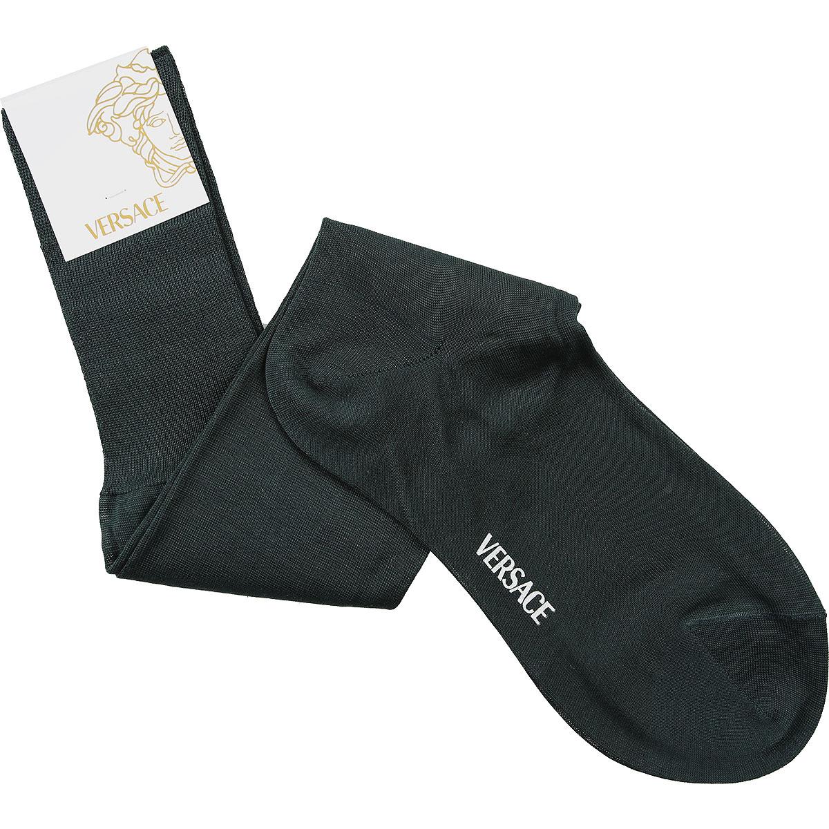 Versace Socks Socks for Men On Sale in Outlet, Dark Green, Lisle Cotton Thread, 2019, 10.5 (Shoe Size: EU 42.5 - US 8.5) 11.5 (Shoe Size: EU 43.5 - US