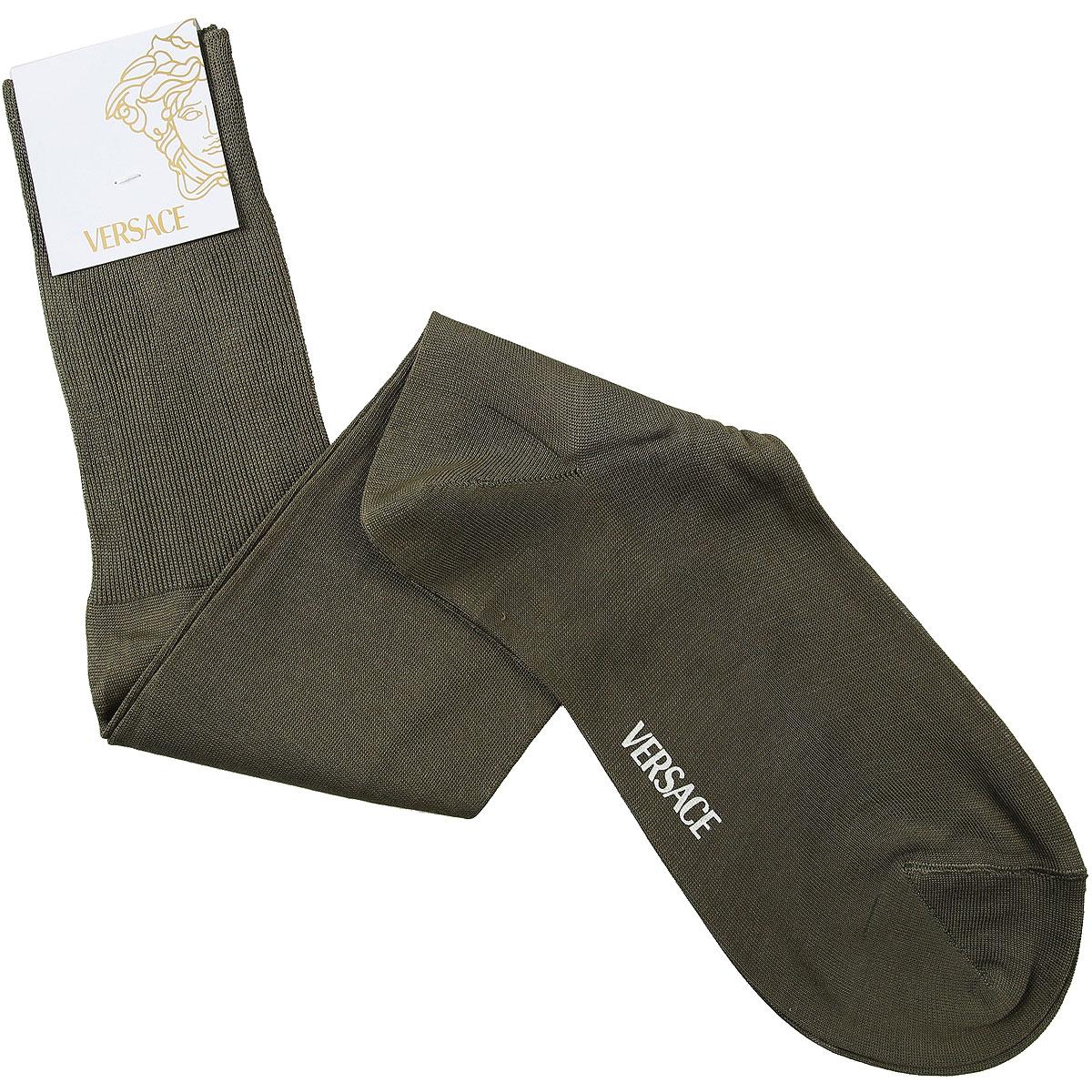 Versace Socks Socks for Men On Sale in Outlet, Military Green, Lisle Cotton Thread, 2019, 11 (Shoe Size: EU 43 - US 9) 11.5 (Shoe Size: EU 43.5 - US 9