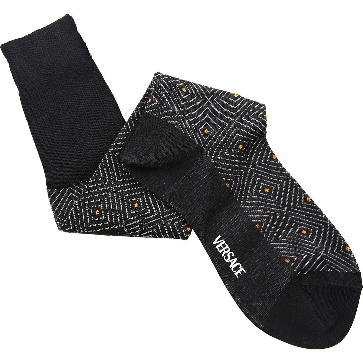 Versace Socks Socks for Men On Sale in Outlet, Black, Lisle Cotton Thread, 2019, 10.5 (Shoe Size: EU 42.5 - US 8.5) 10 (Shoe Size: EU 42 - US 8) 12.5